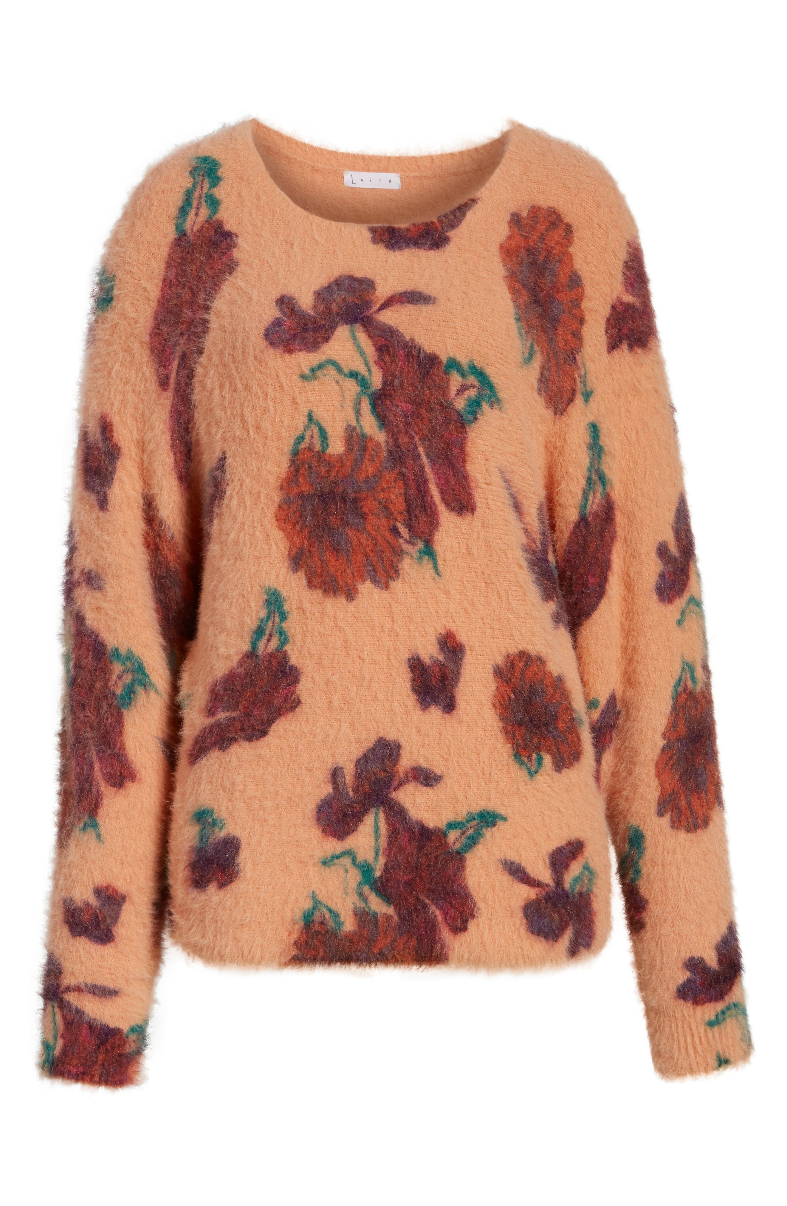 Fluffy Pullover,                             Alternate thumbnail 6, color,                             Coral Muted Expressive Floral