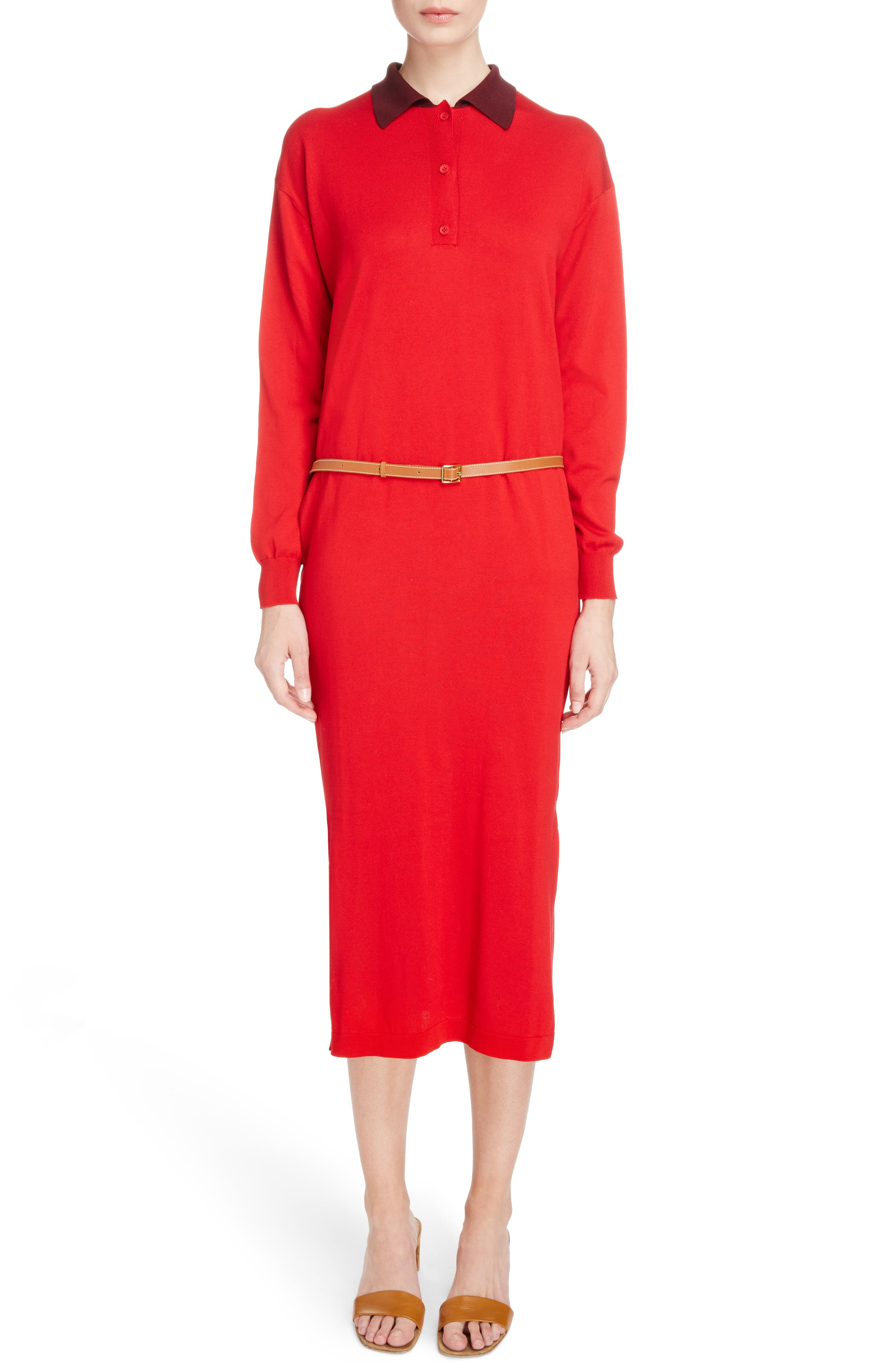 Belted Polo Dress,                             Main thumbnail 1, color,                             Red/ Burgundy