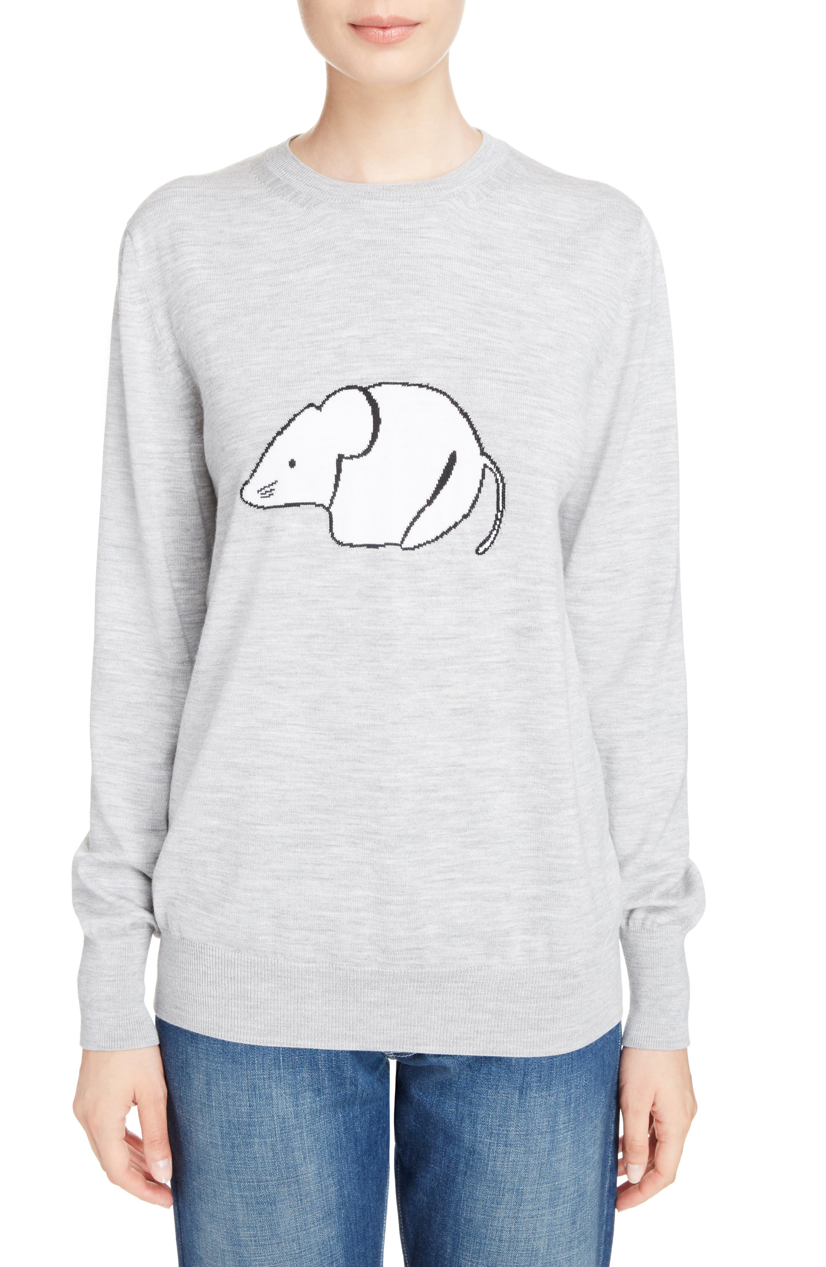 Mouse Intarsia Wool Sweater,                         Main,                         color, Light Grey