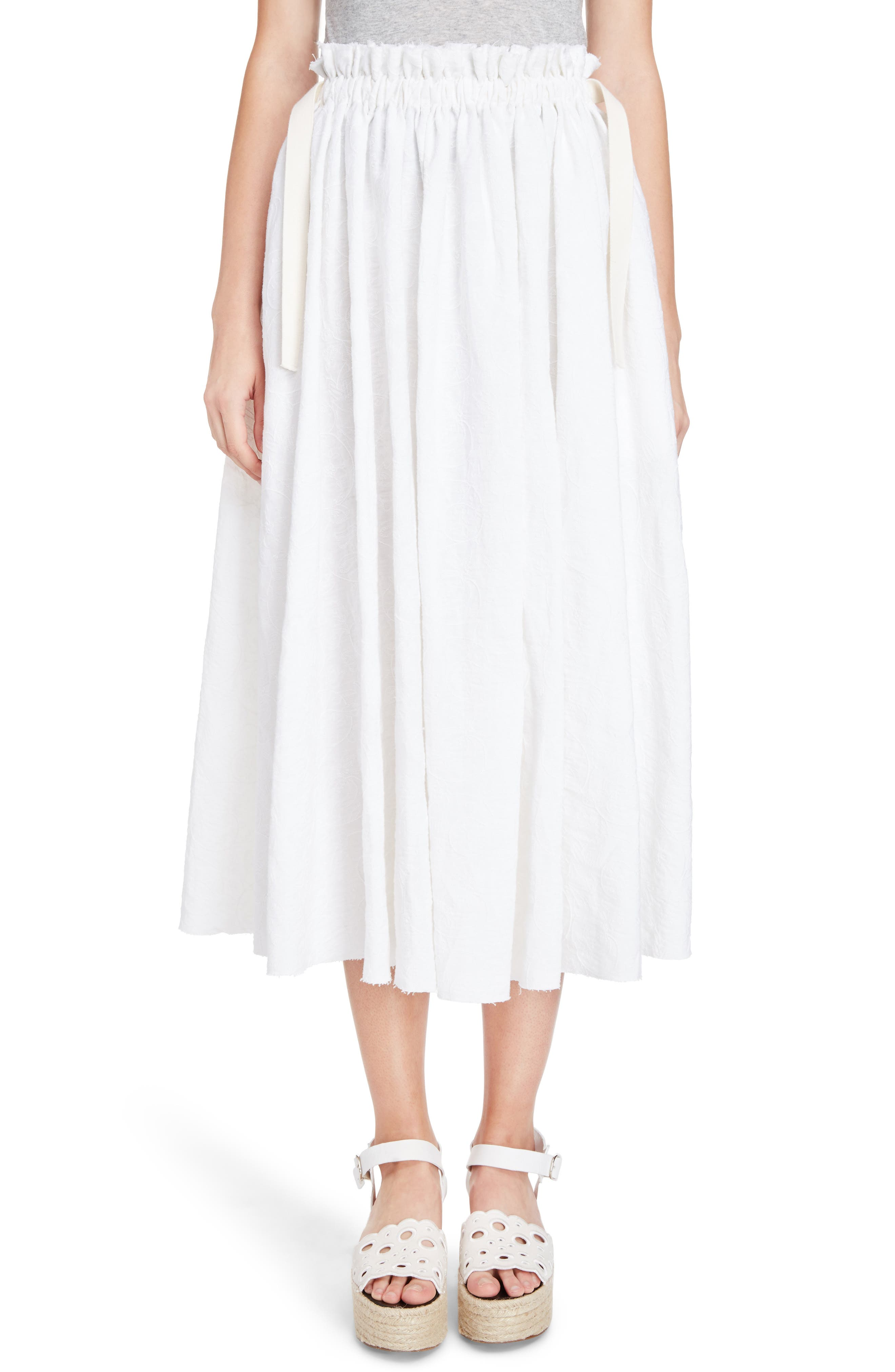Alternate Image 1 Selected - Loewe Drawstring Waist Broderie Anglaise Skirt