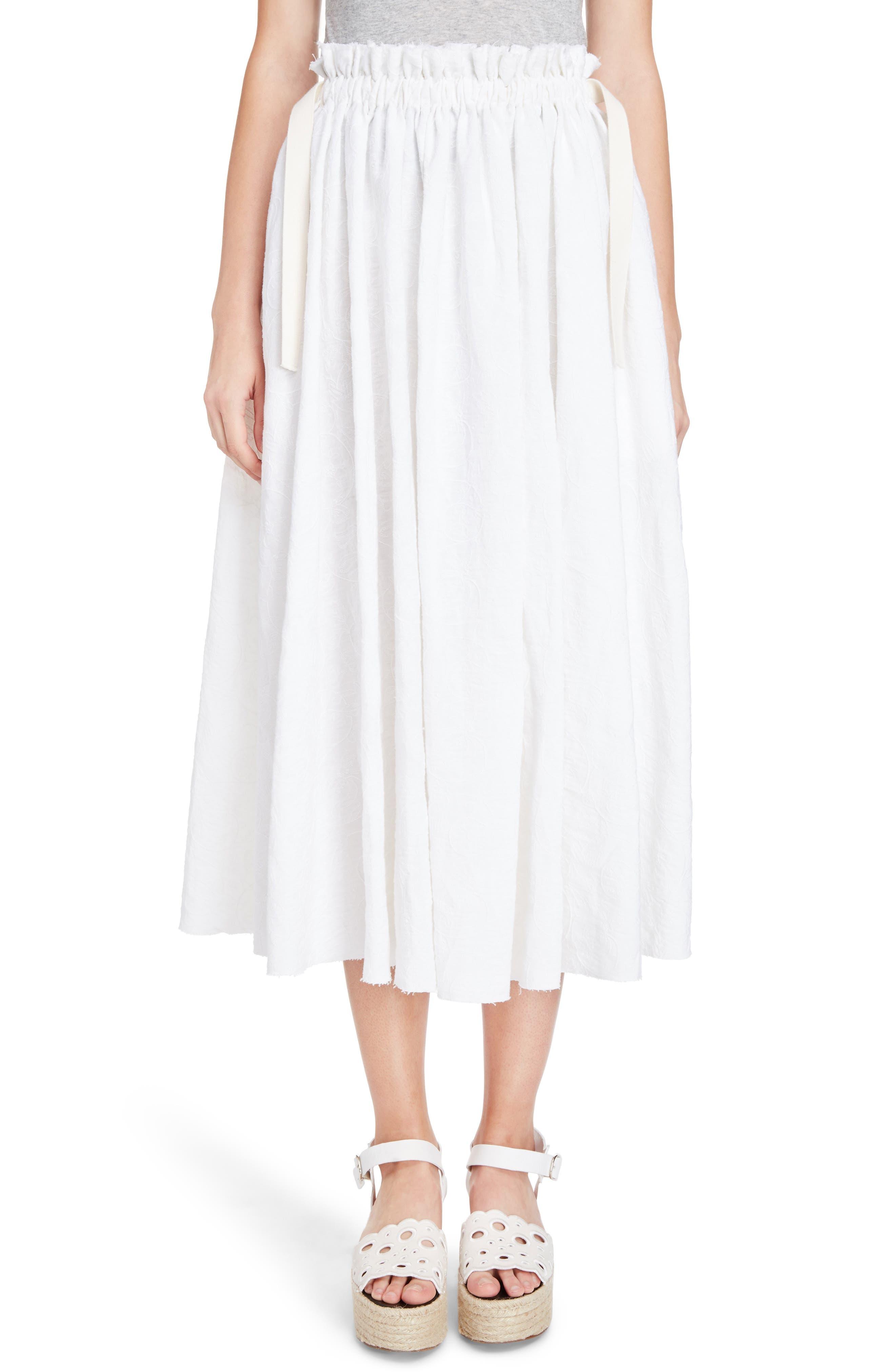 Drawstring Waist Broderie Anglaise Skirt,                         Main,                         color, White