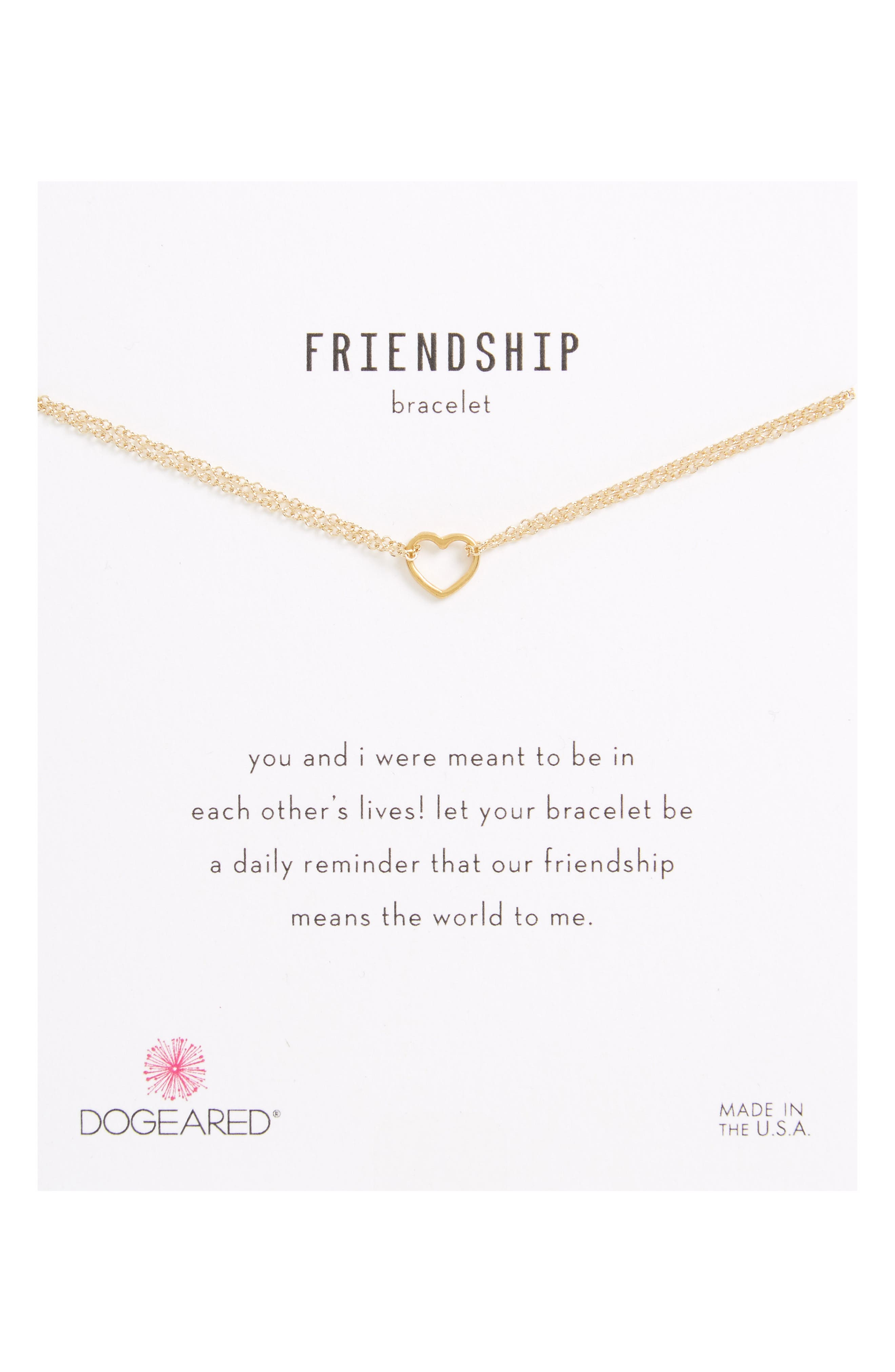 Main Image - Dogeared Friendship Small Open Heart Charm Chain Bracelet