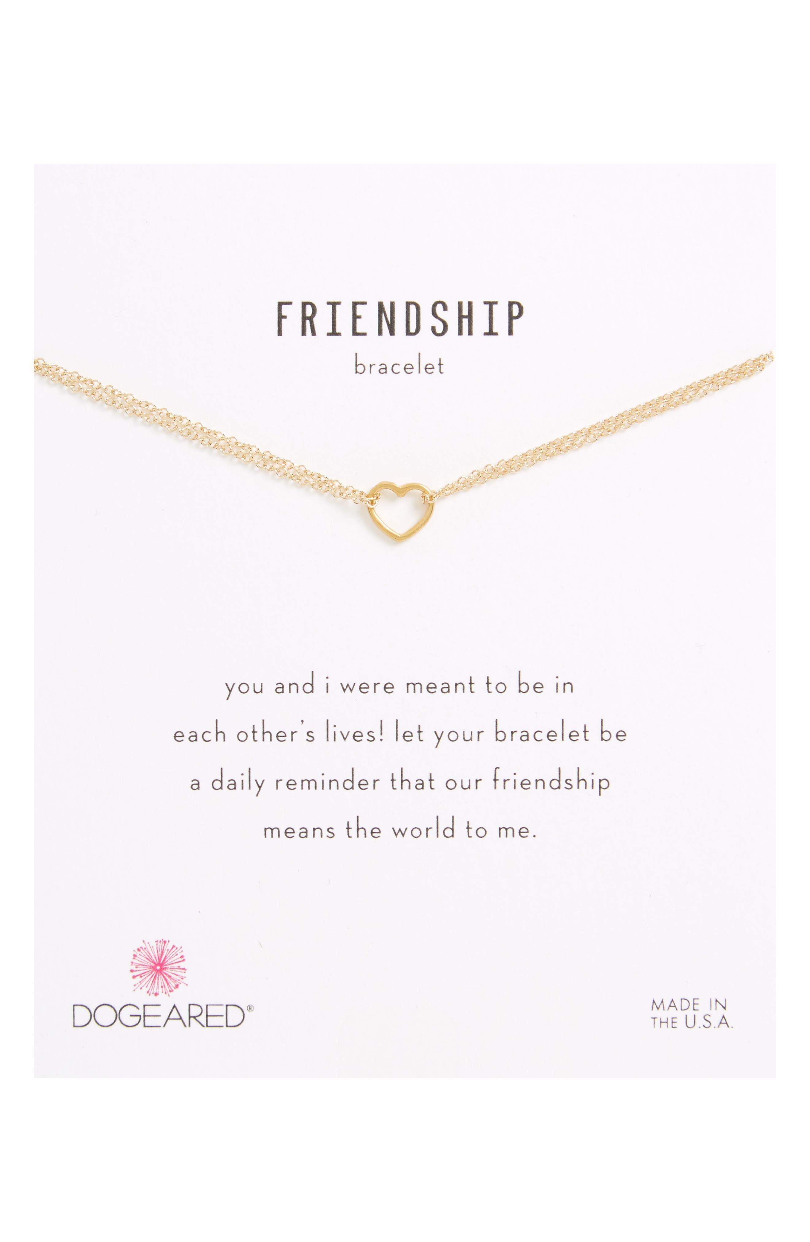 Friendship Small Open Heart Charm Chain Bracelet,                         Main,                         color, Gold