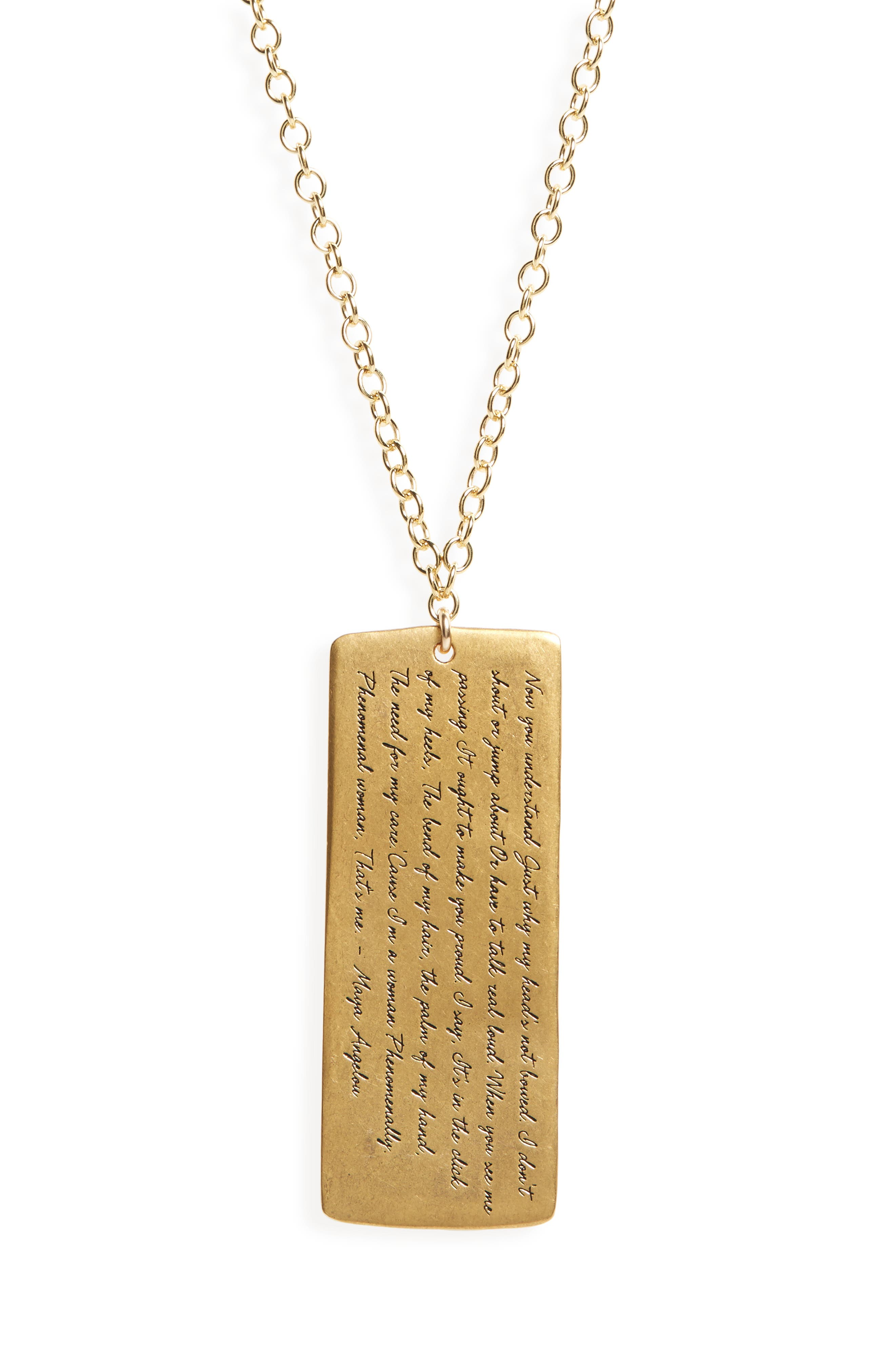 Legacy Collection - Phenomenal Women Large Tag Necklace,                             Alternate thumbnail 2, color,                             Gold
