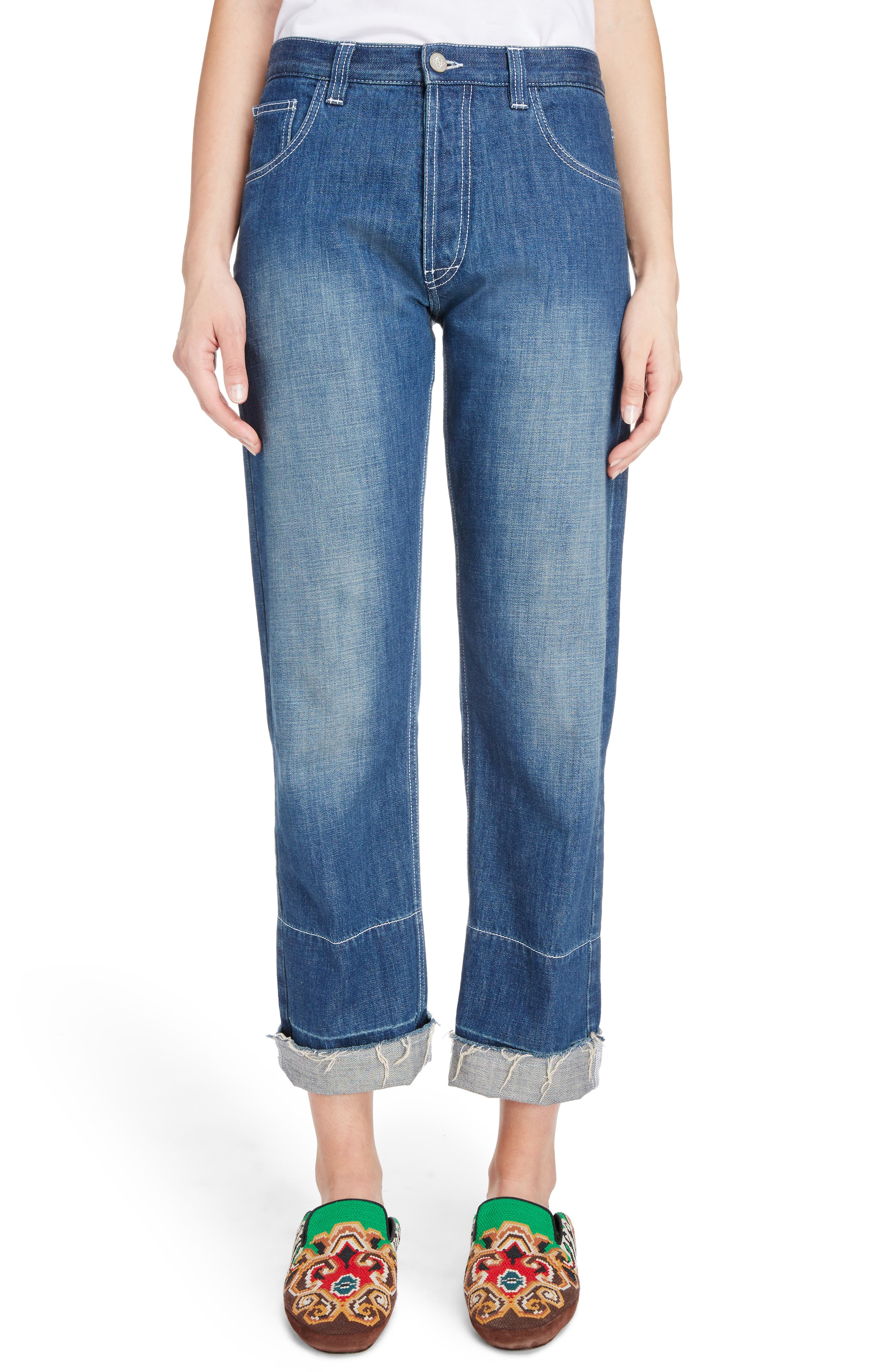 Embroidered Crop Straight Leg Jeans,                         Main,                         color, Indigo