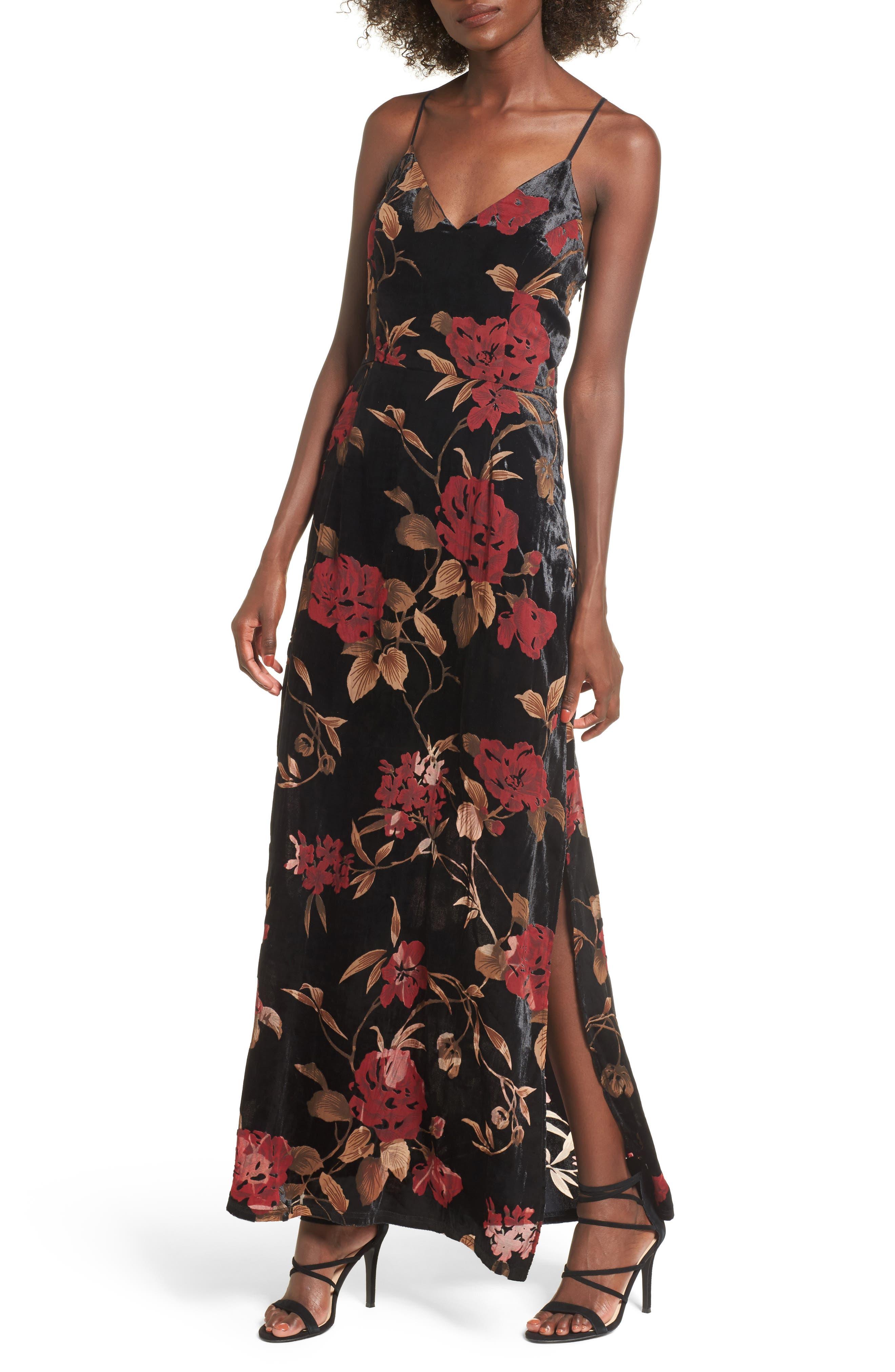 Velvet Burnout Maxi Dress,                         Main,                         color, Black-Multi