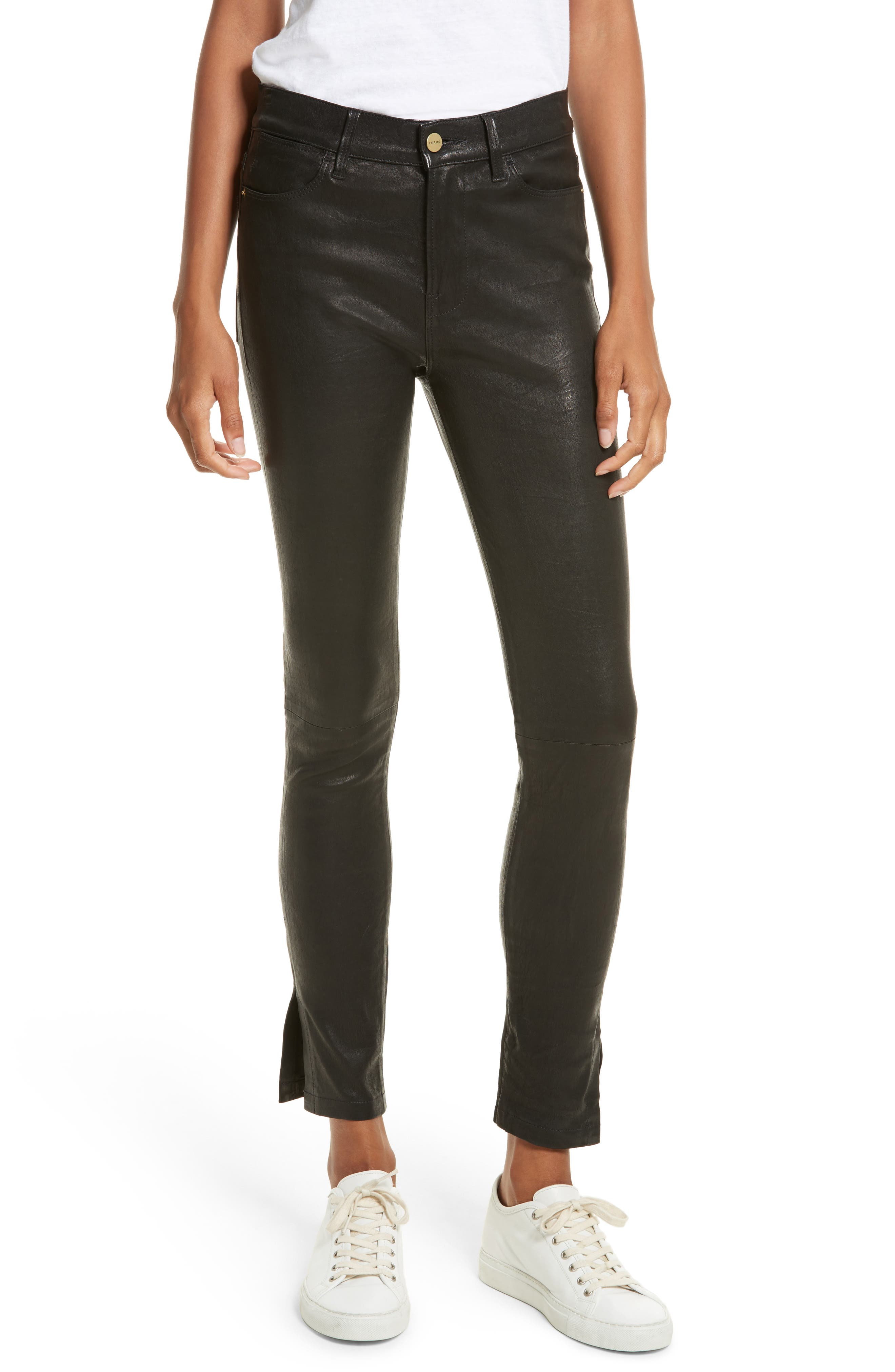 Le High Skinny Slit Leather Pants,                             Main thumbnail 1, color,                             Washed Black