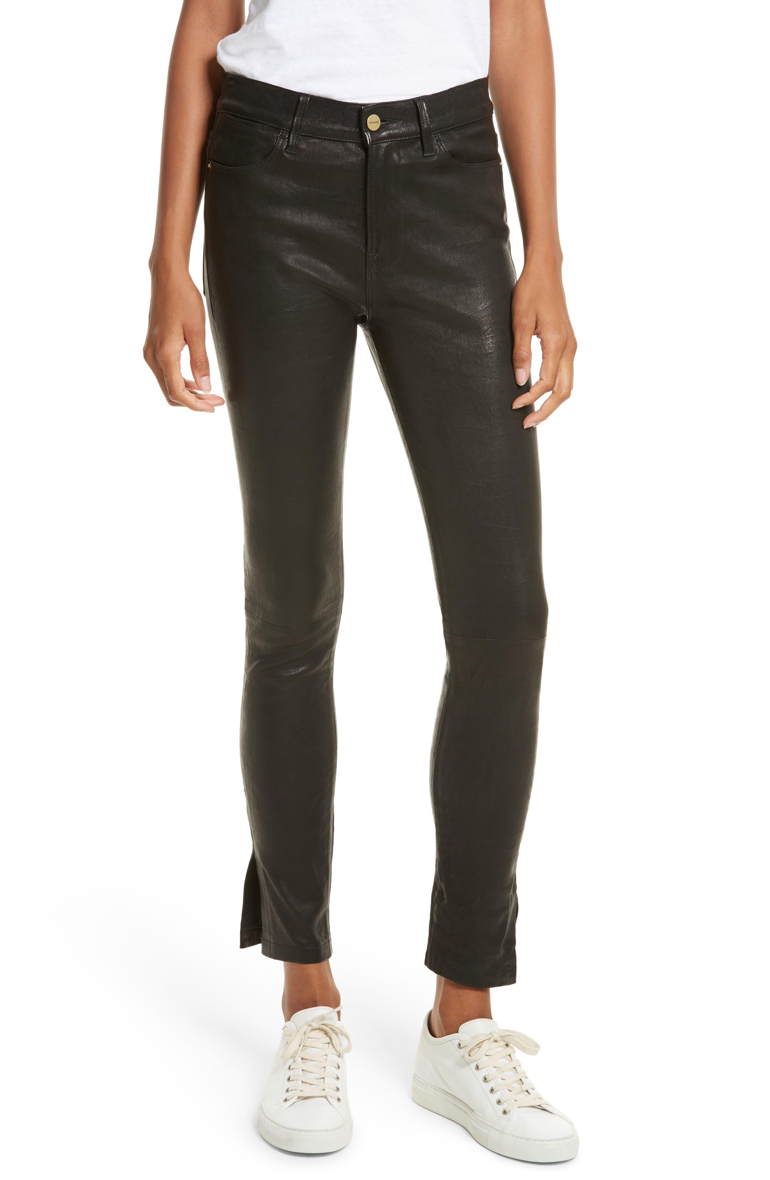 Le High Skinny Slit Leather Pants,                         Main,                         color, Washed Black