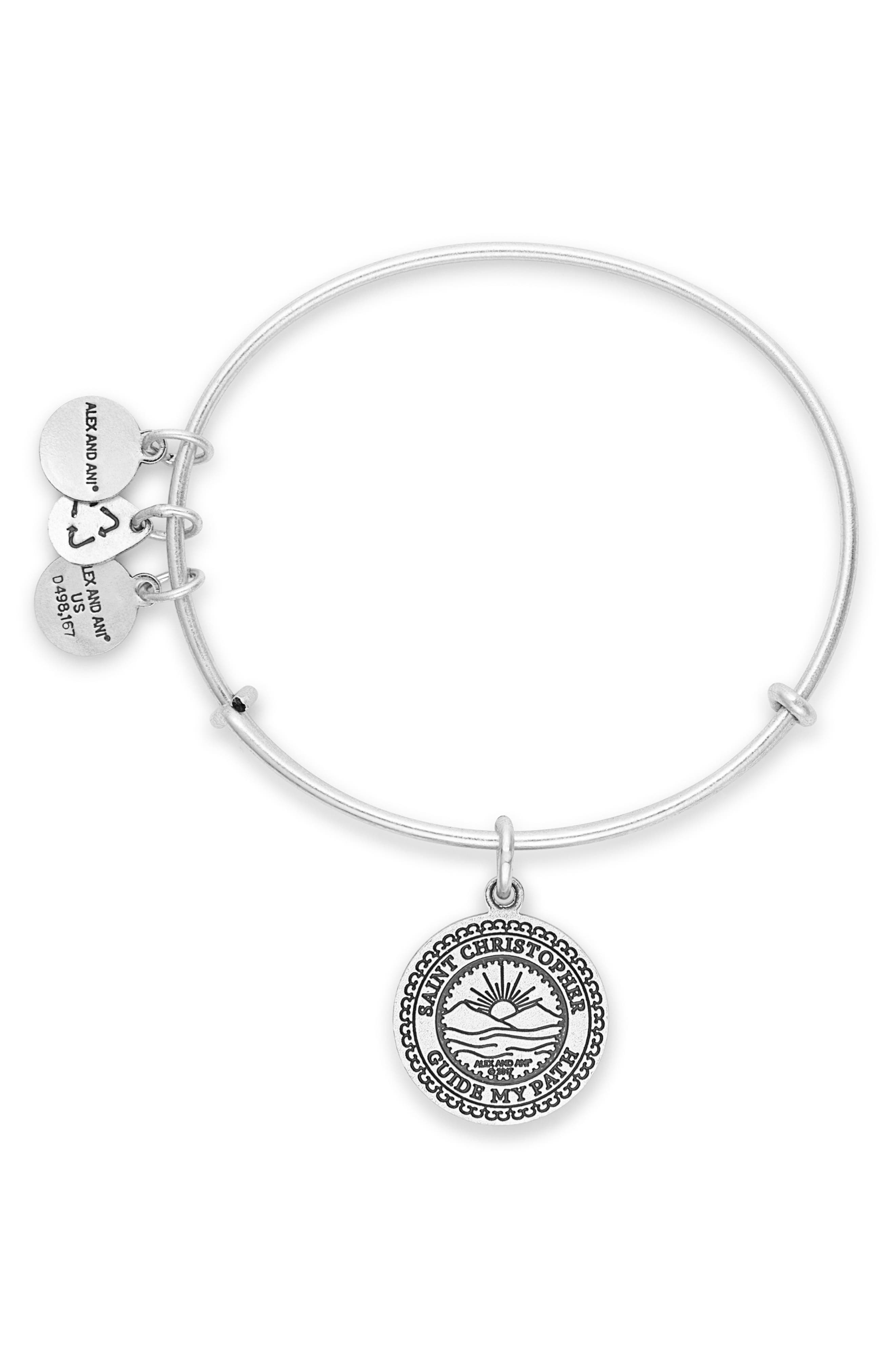 St. Christopher Adjustable Wire Bangle,                             Alternate thumbnail 2, color,                             Silver
