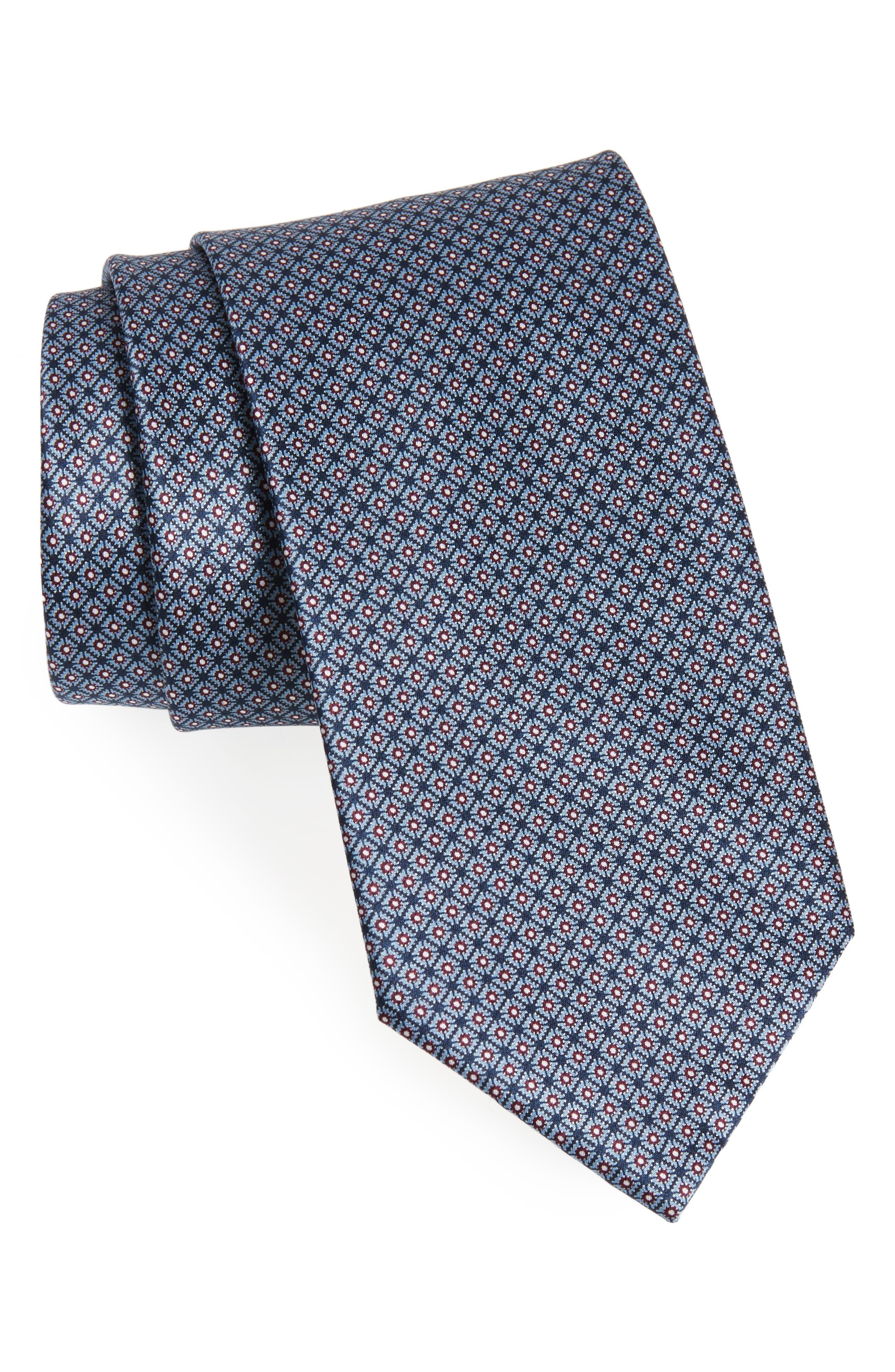 Neat Silk Tie,                             Main thumbnail 1, color,                             Blue