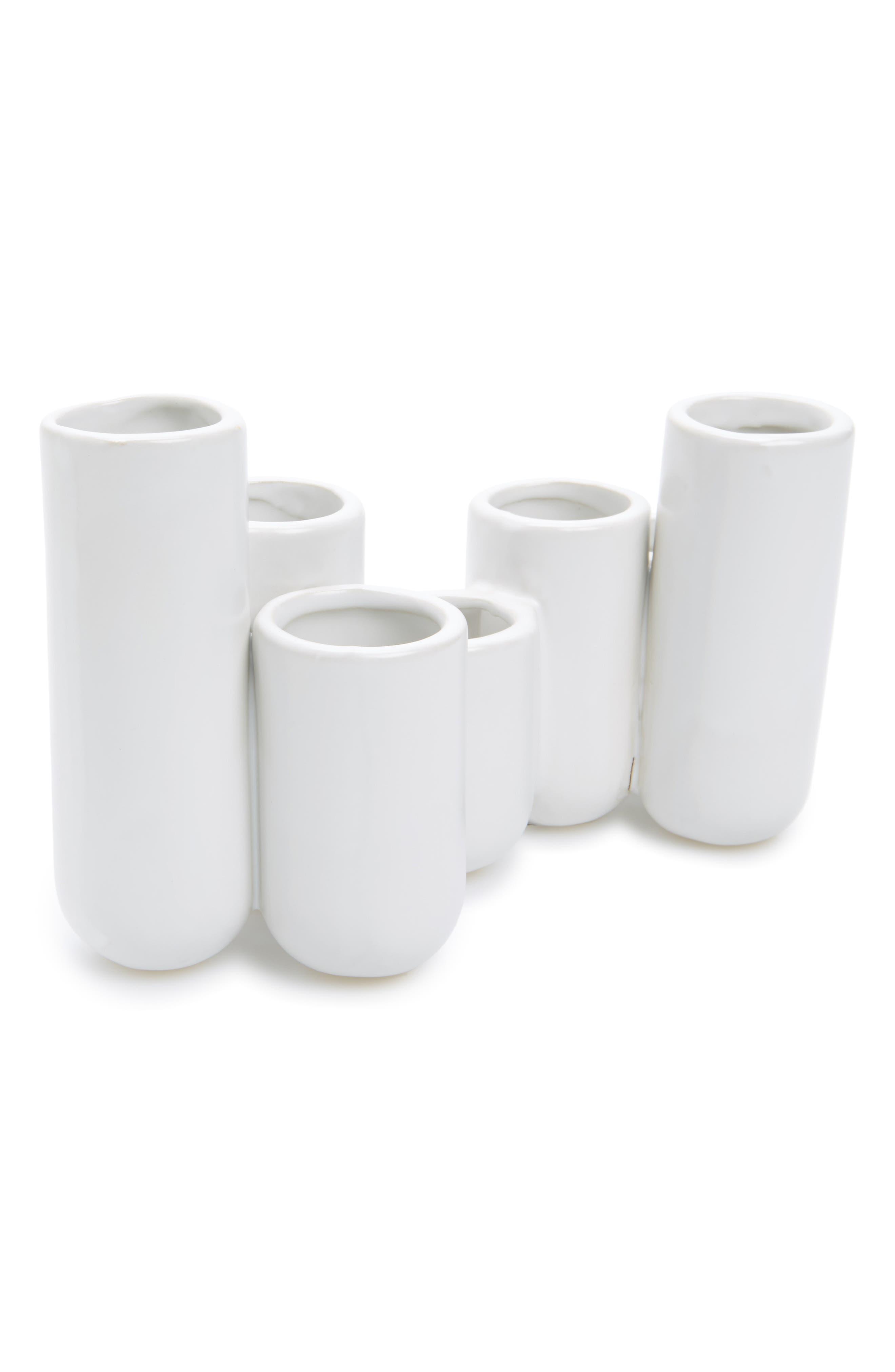Multi Container Ceramic Bud Vase,                         Main,                         color, Matte White