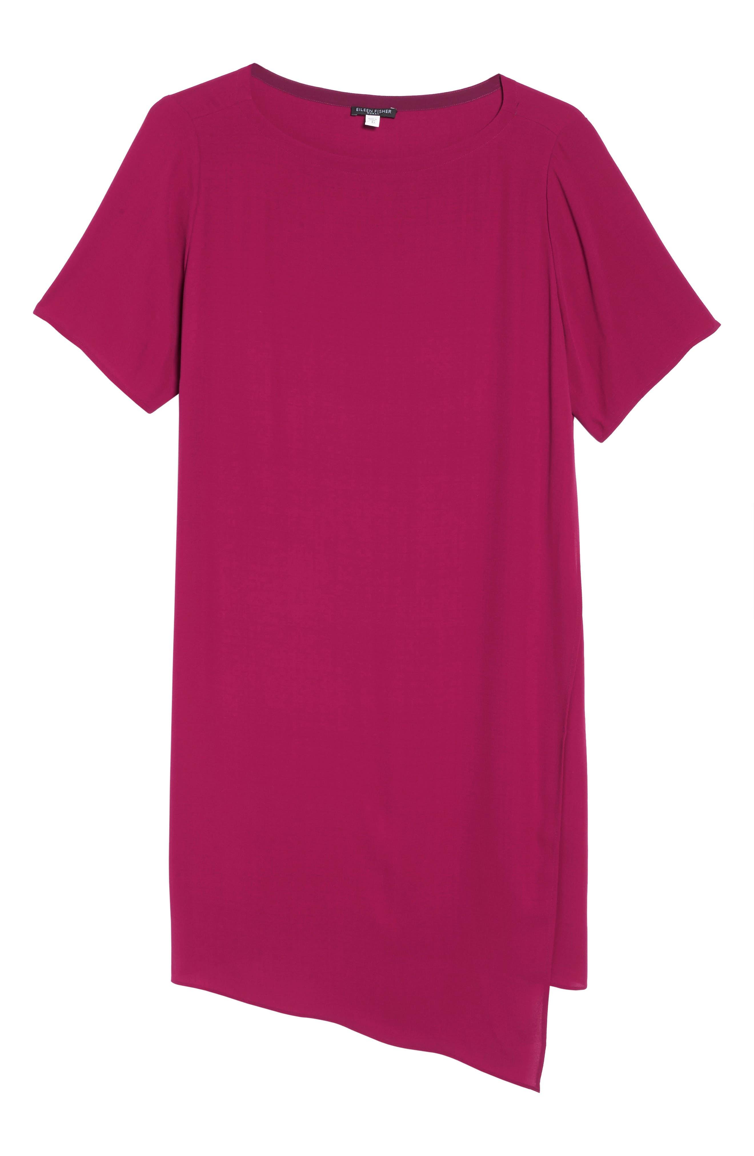 Asymmetrical Silk Shift Dress,                             Alternate thumbnail 6, color,                             Hibiscus