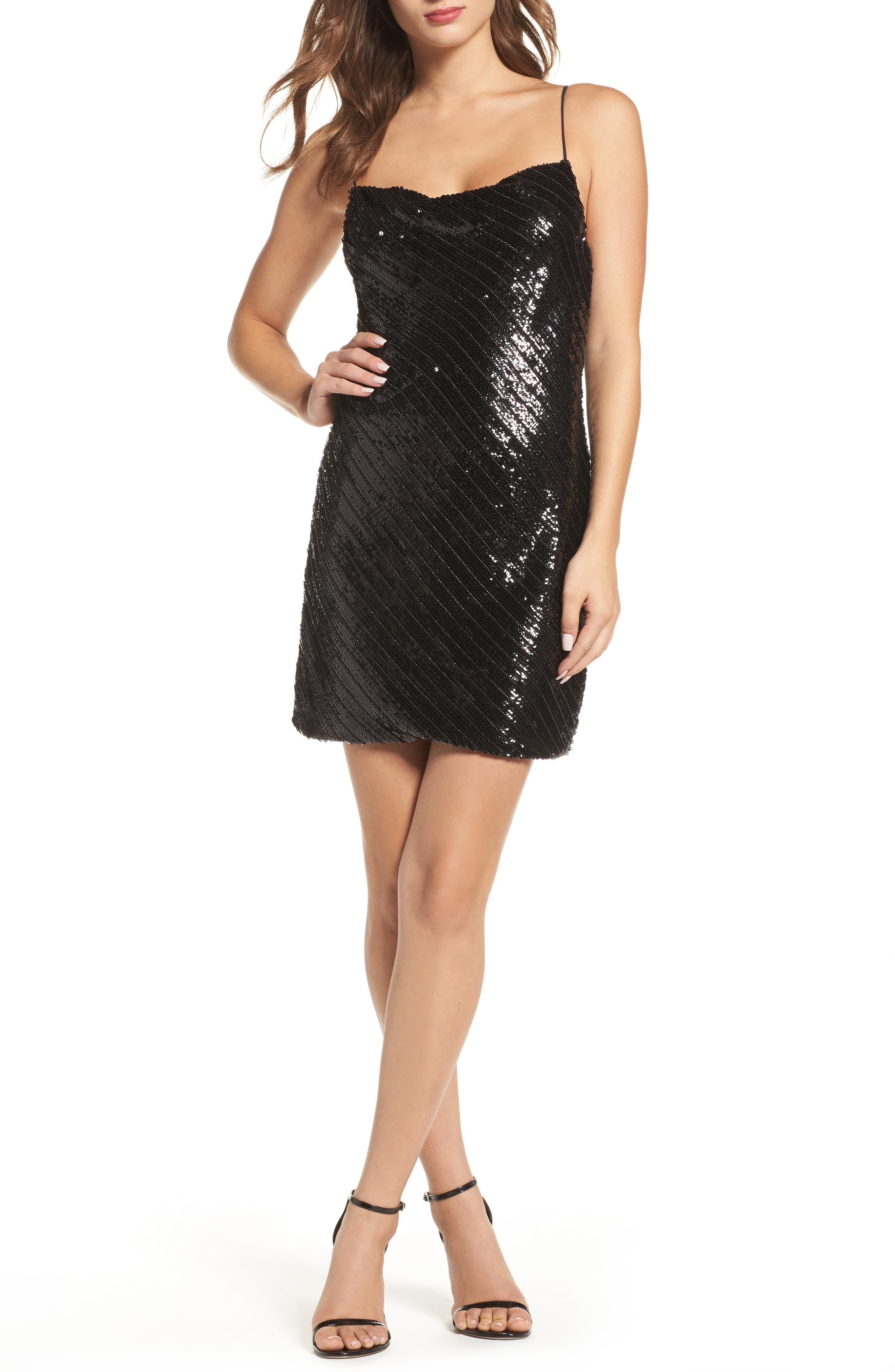 Emmie Sequin Mini Slipdress,                         Main,                         color, Black