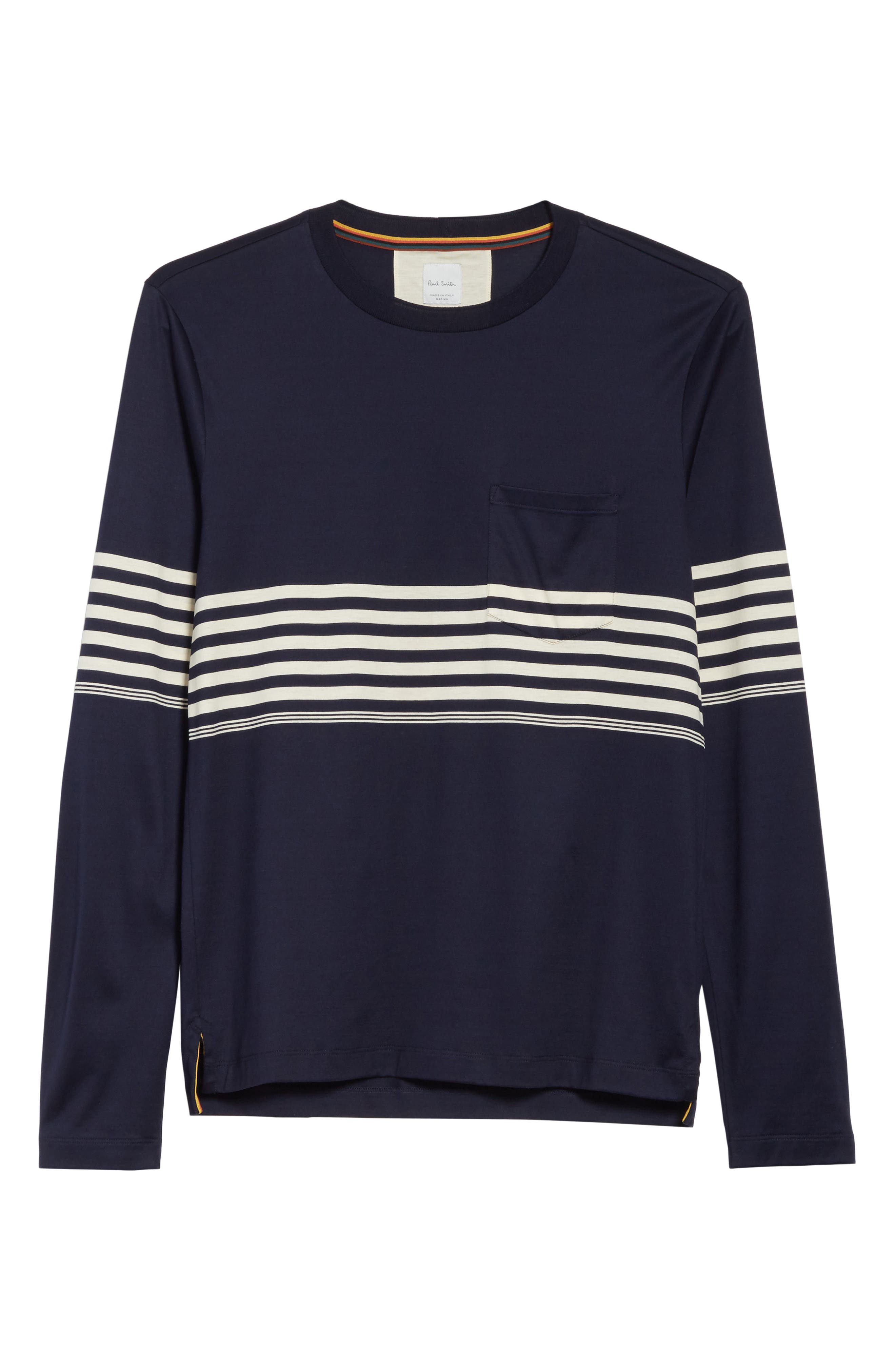 Stripe Long Sleeve T-Shirt,                             Alternate thumbnail 6, color,                             Navy