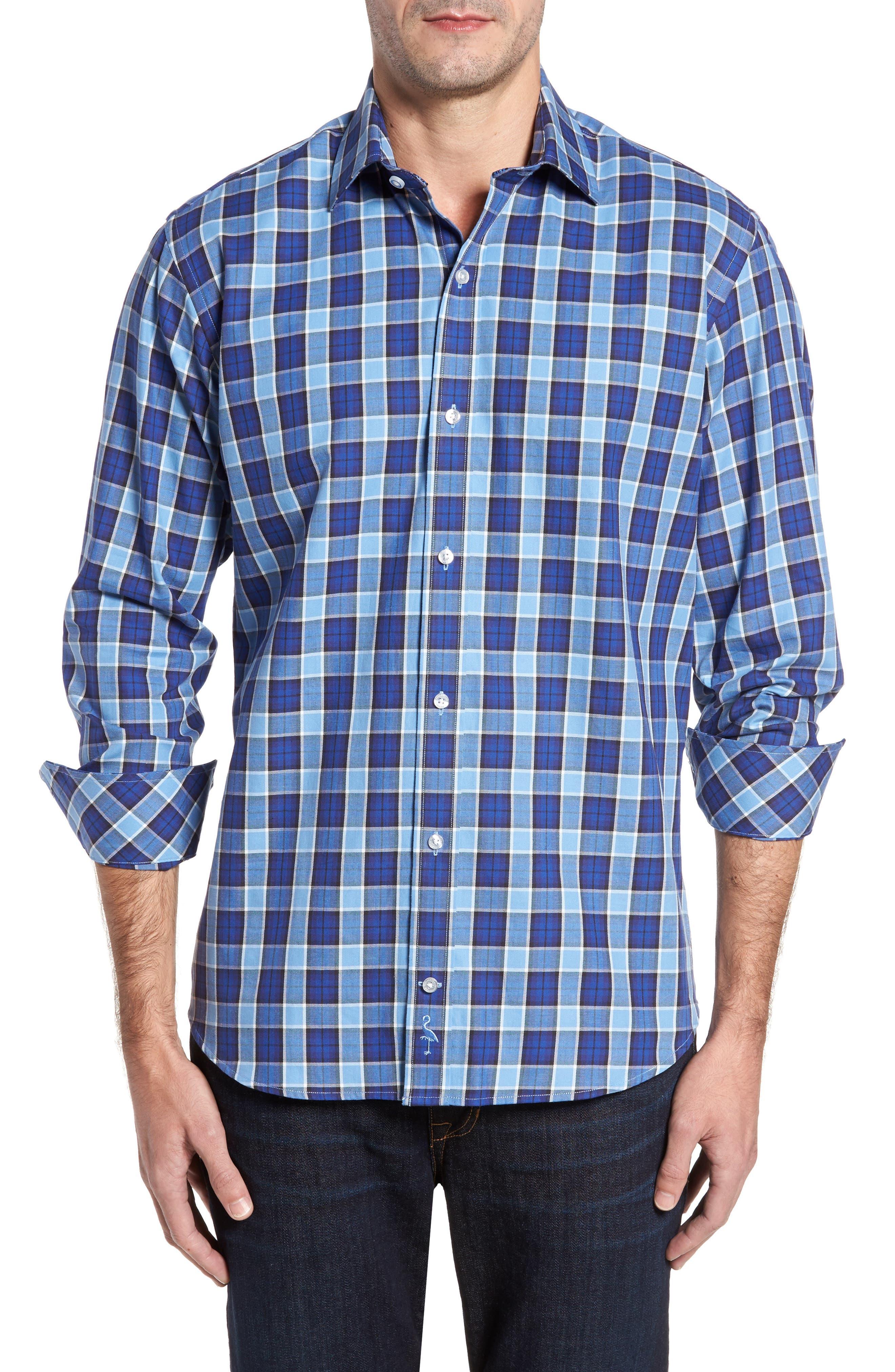 Brownsville Windowpane Check Twill Sport Shirt,                         Main,                         color, Deep Blue