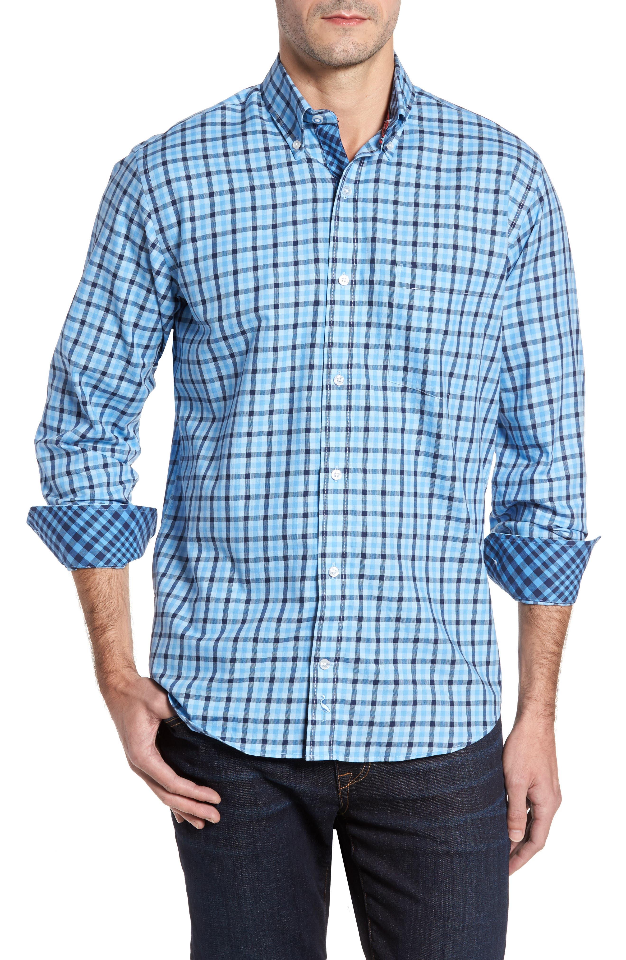 Bridge City Gingham Twill Sport Shirt,                         Main,                         color, Blue