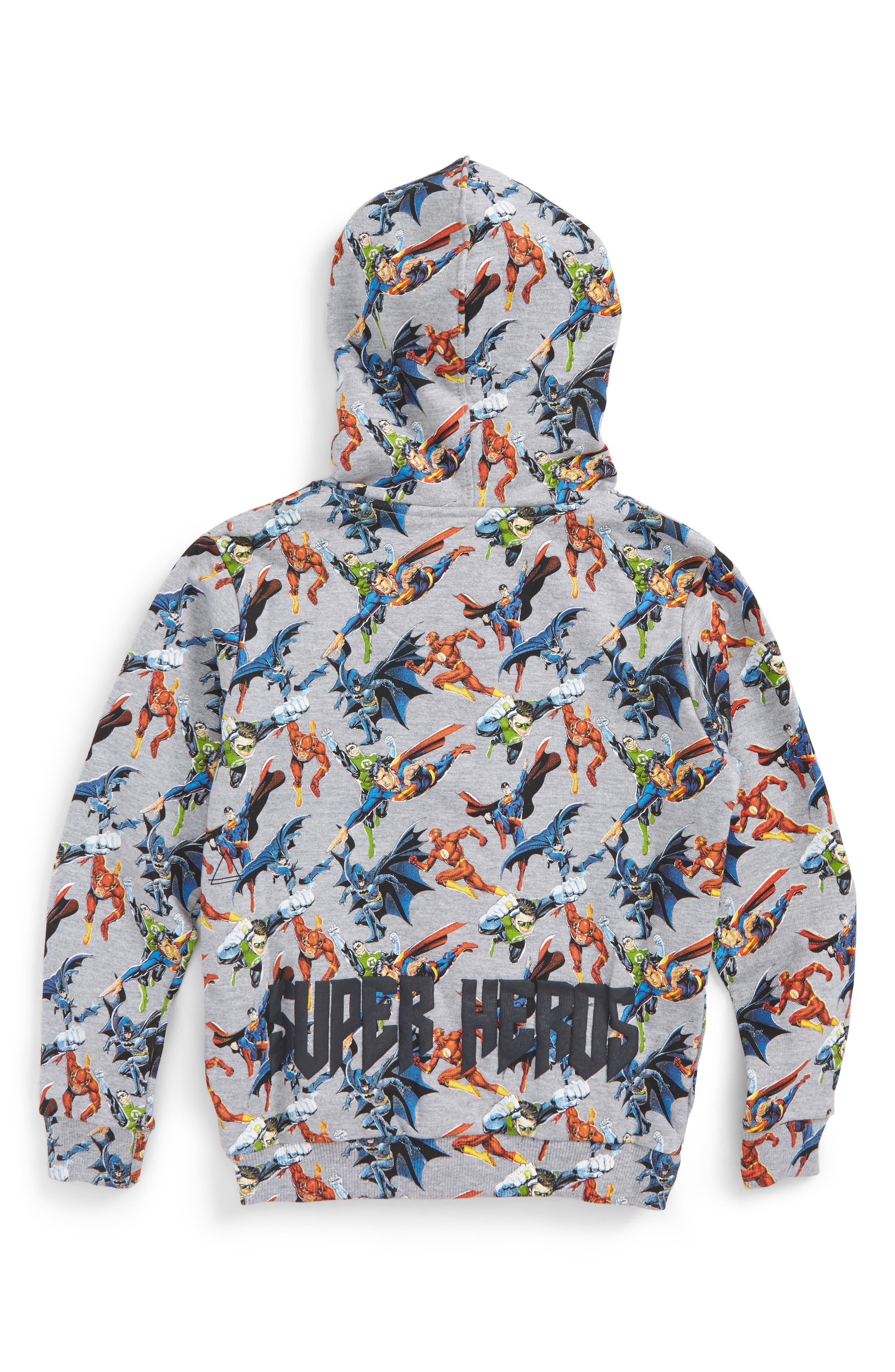 Super Heros Graphic Zip Hoodie,                             Alternate thumbnail 2, color,                             Grey