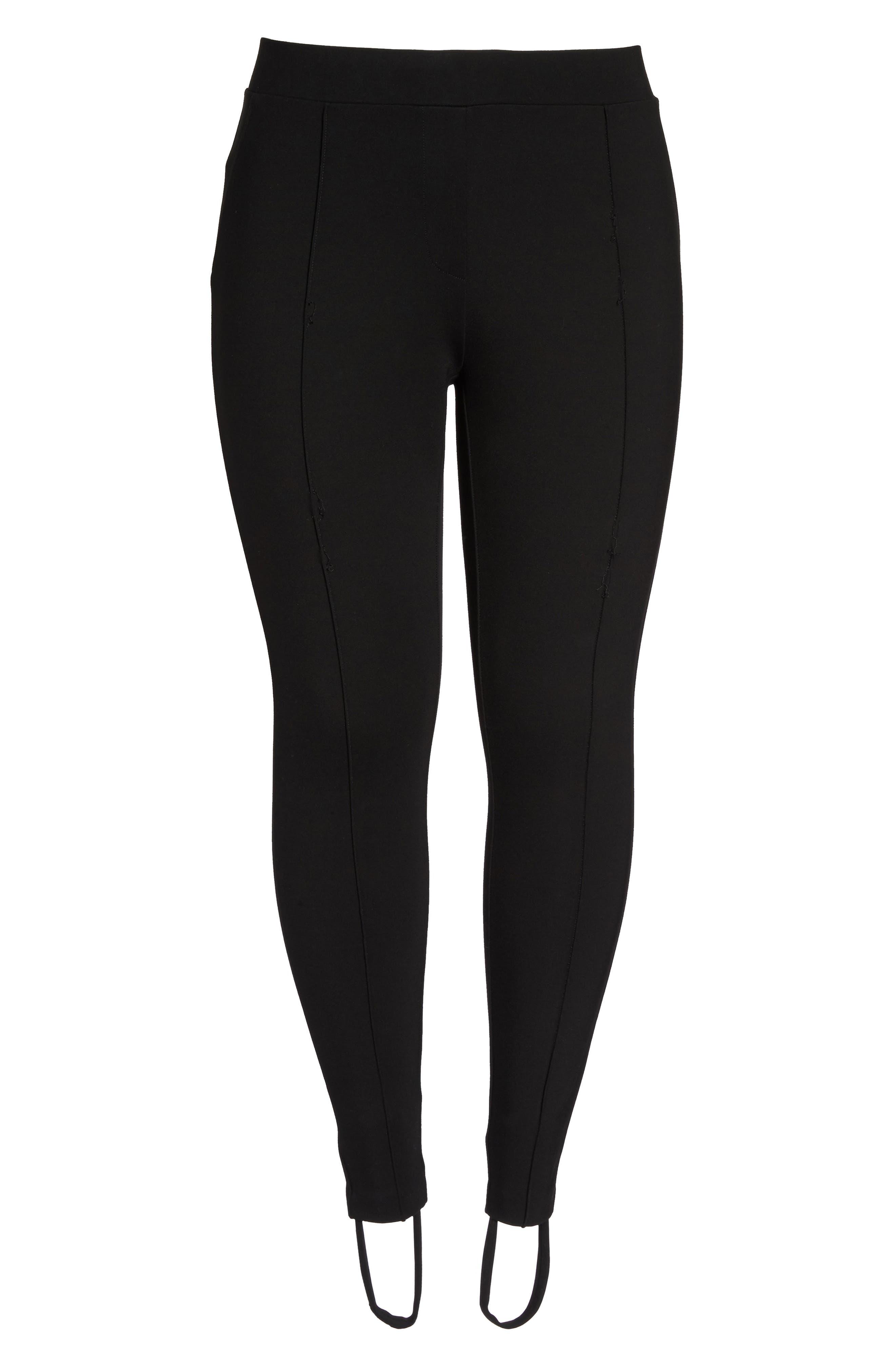 Ponte Knit Stirrup Pants,                             Alternate thumbnail 6, color,                             Black