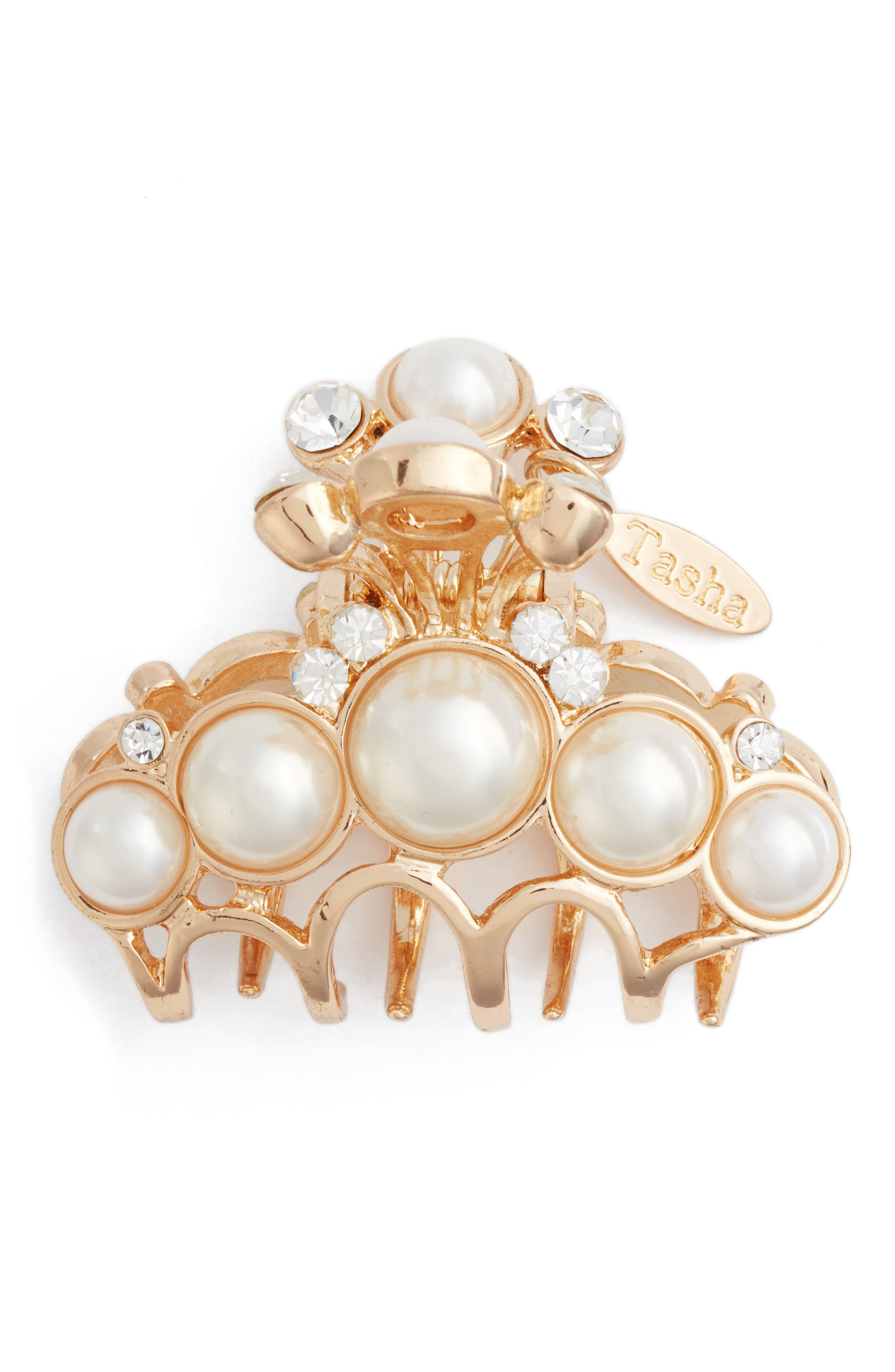 Imitation Pearl & Crystal Embellished Jaw Clip,                         Main,                         color, Gold/Pearls