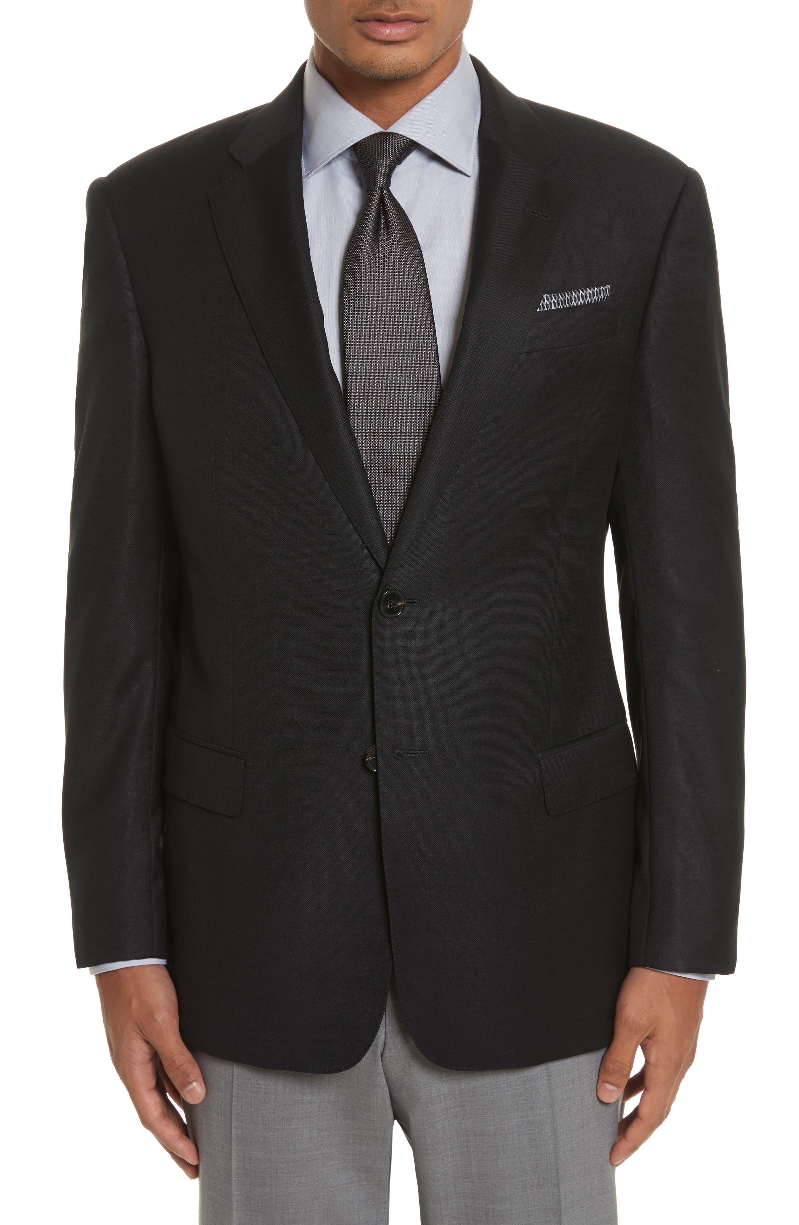 G-Line Trim Fit Wool Blazer,                         Main,                         color, Black