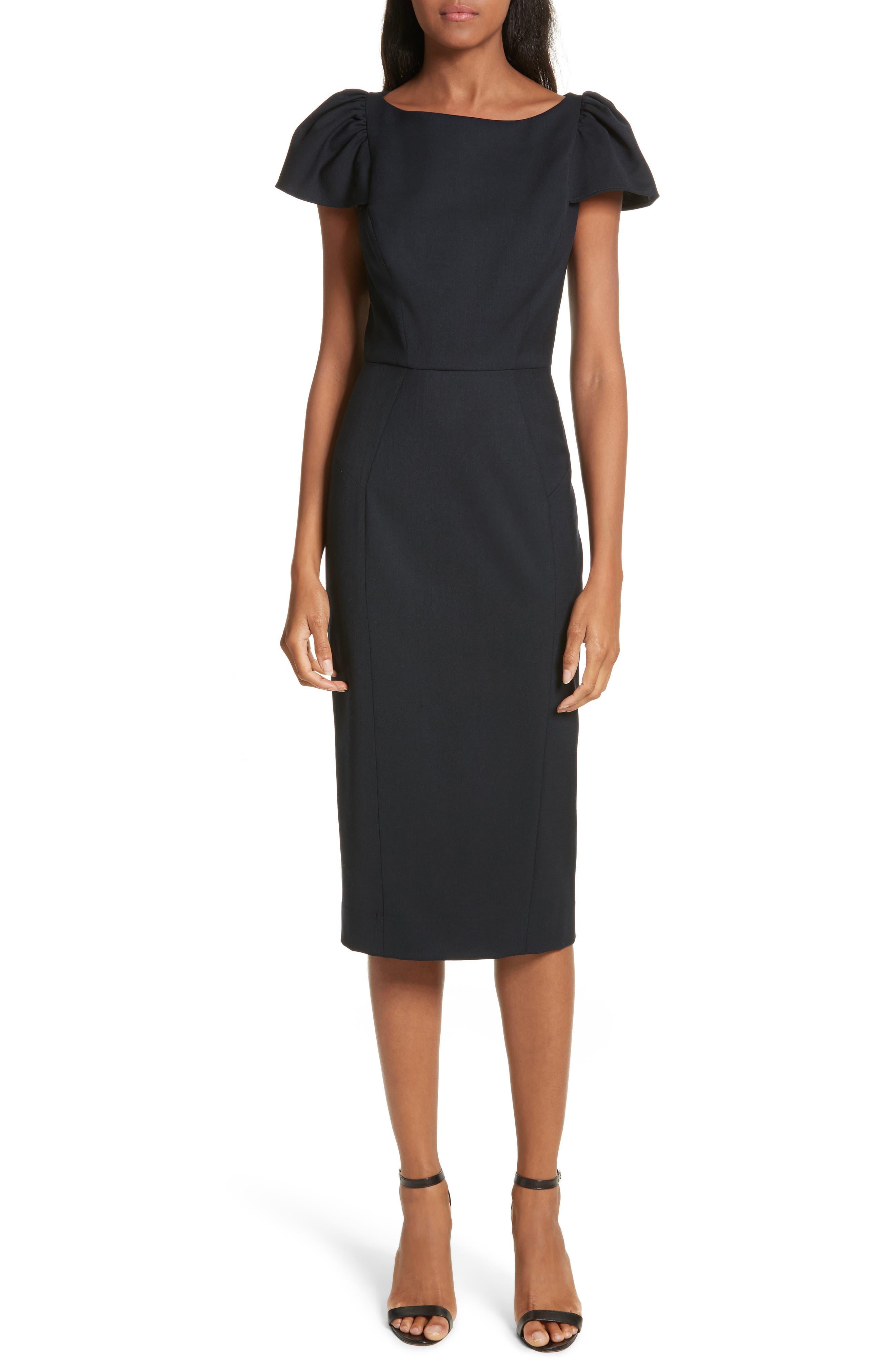Alternate Image 1 Selected - Milly Gabardine Italian Wool Blend Midi Dress