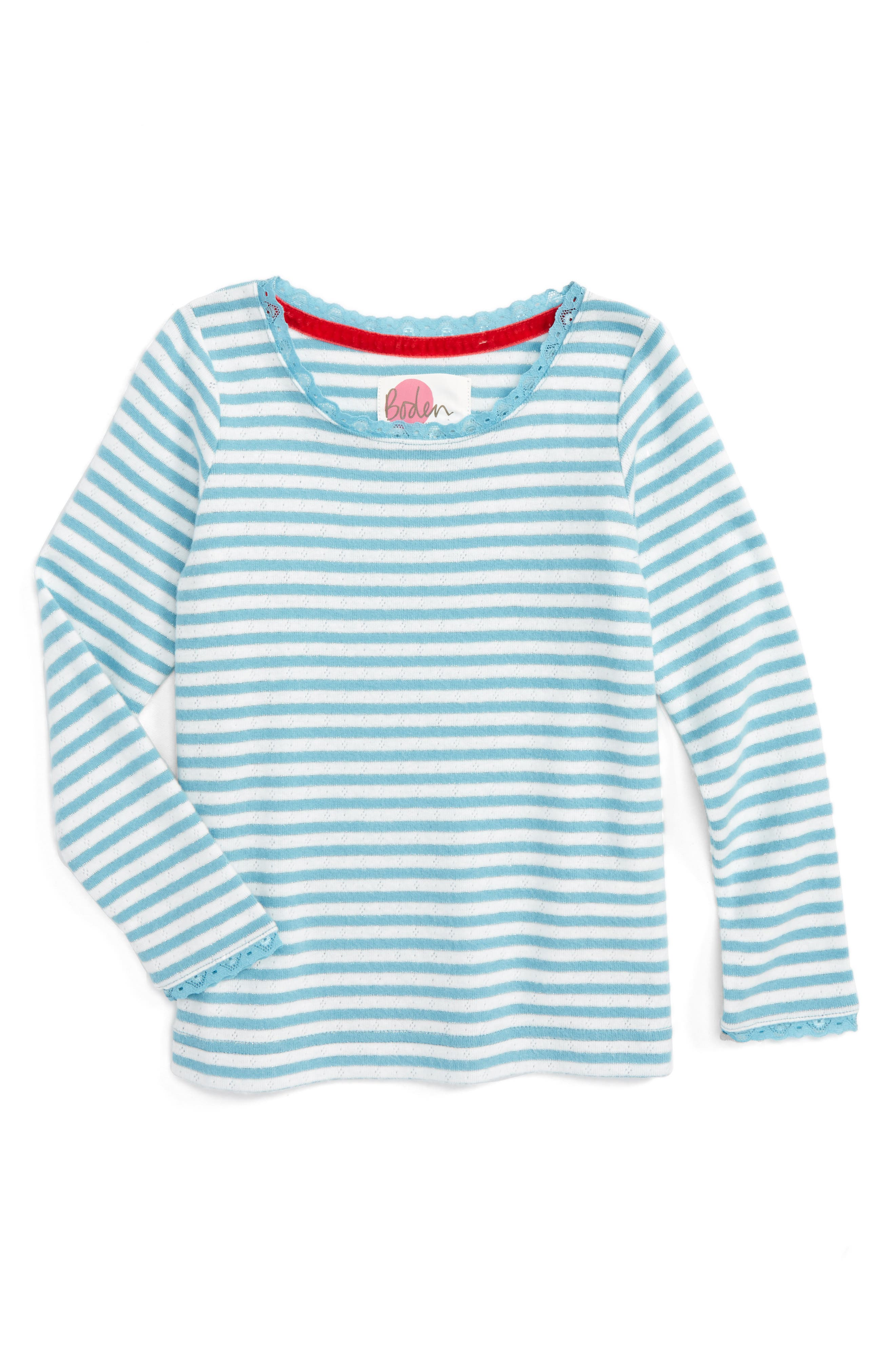 Mini Boden Sparkly Pointelle Tee (Toddler Girls, Little Girls & Big Girls)