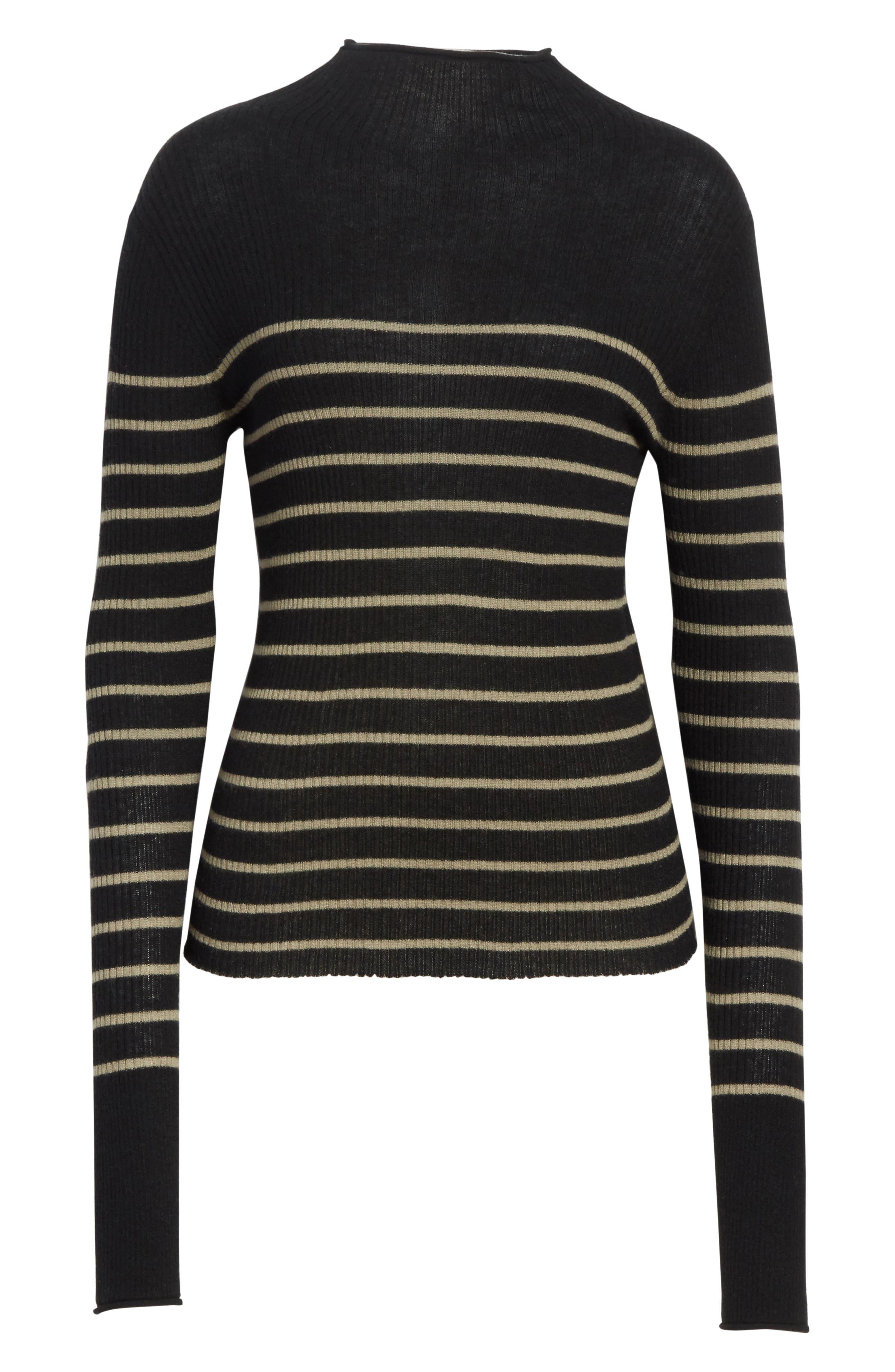 Stripe Ribbed Cashmere Sweater,                             Alternate thumbnail 6, color,                             Black/ Pebble Taupe
