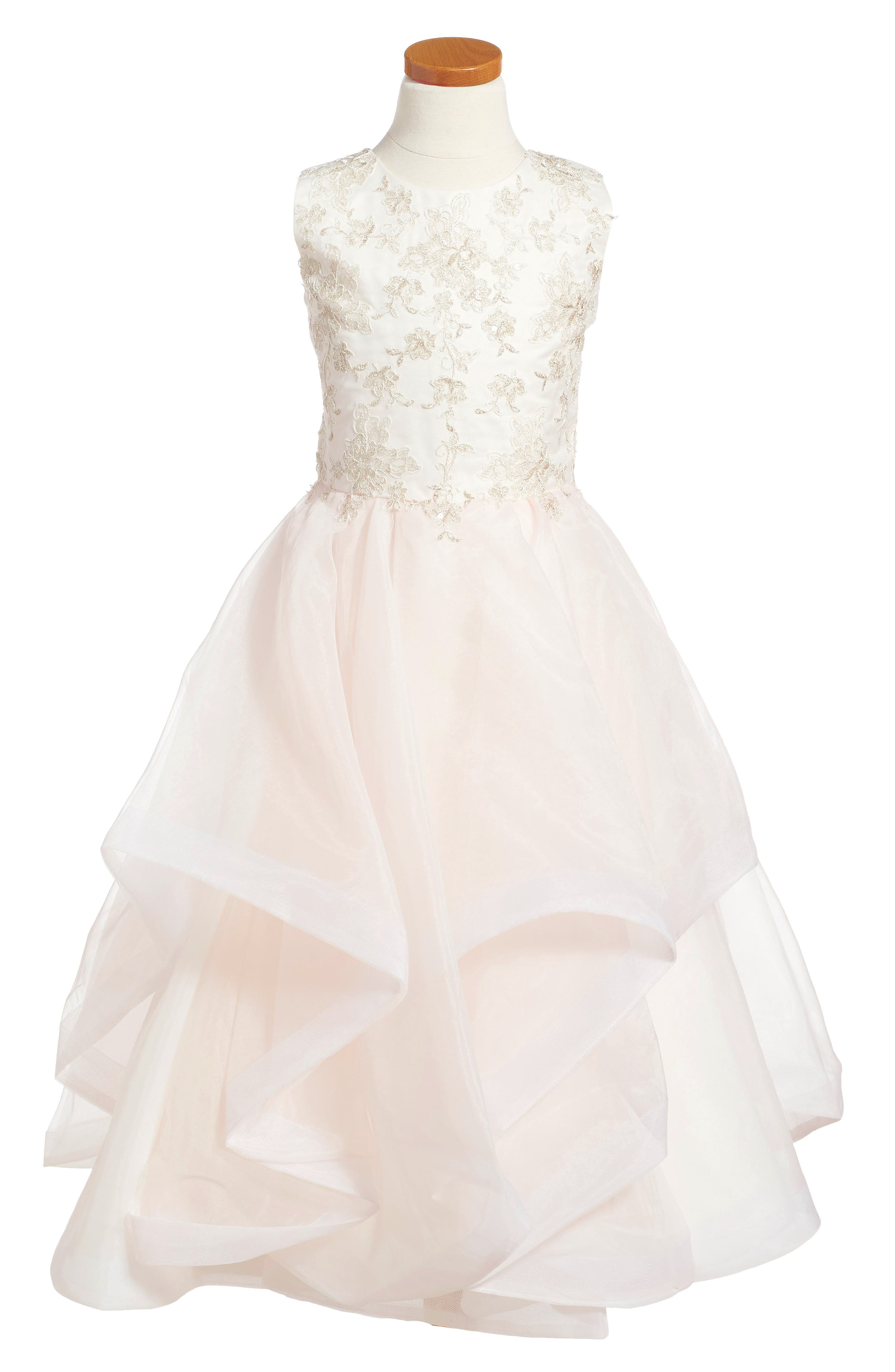 Tulle & Organza Dress,                         Main,                         color, Ivory/ Pink