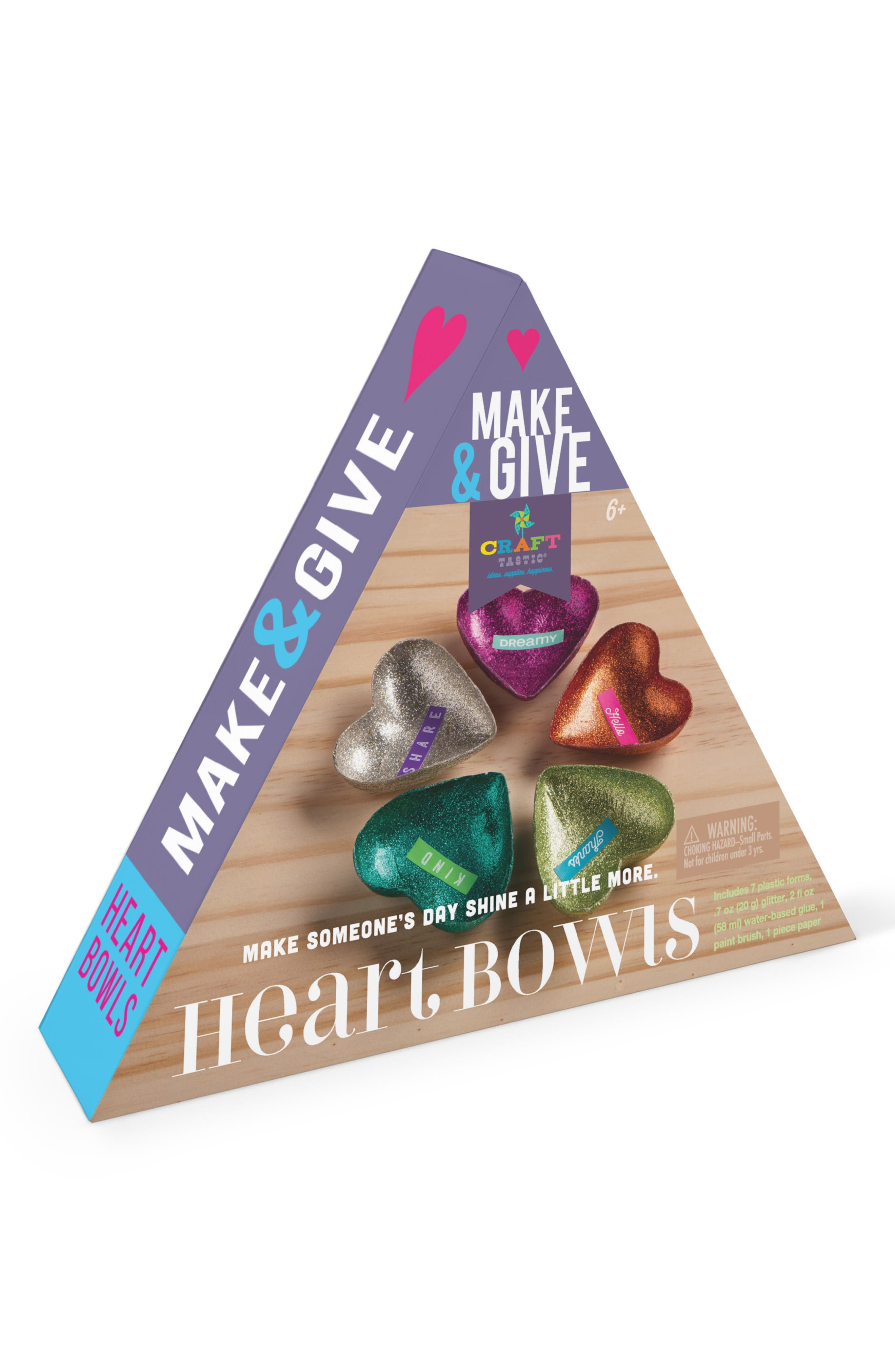 Make & Give Heart Bowls Craft Kit,                         Main,                         color, White