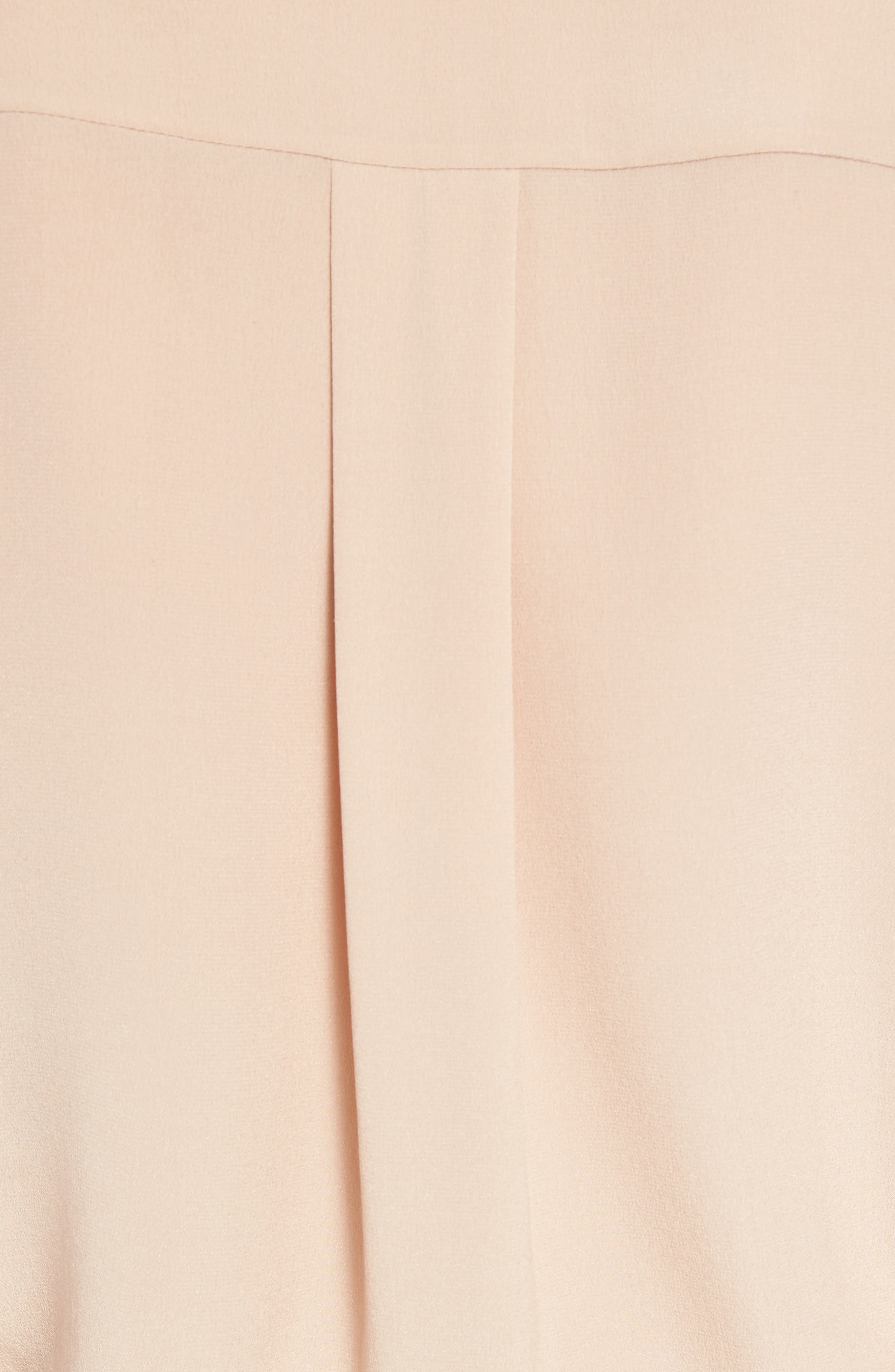 Scalloped Silk Blouse,                             Alternate thumbnail 5, color,                             Beige Rose