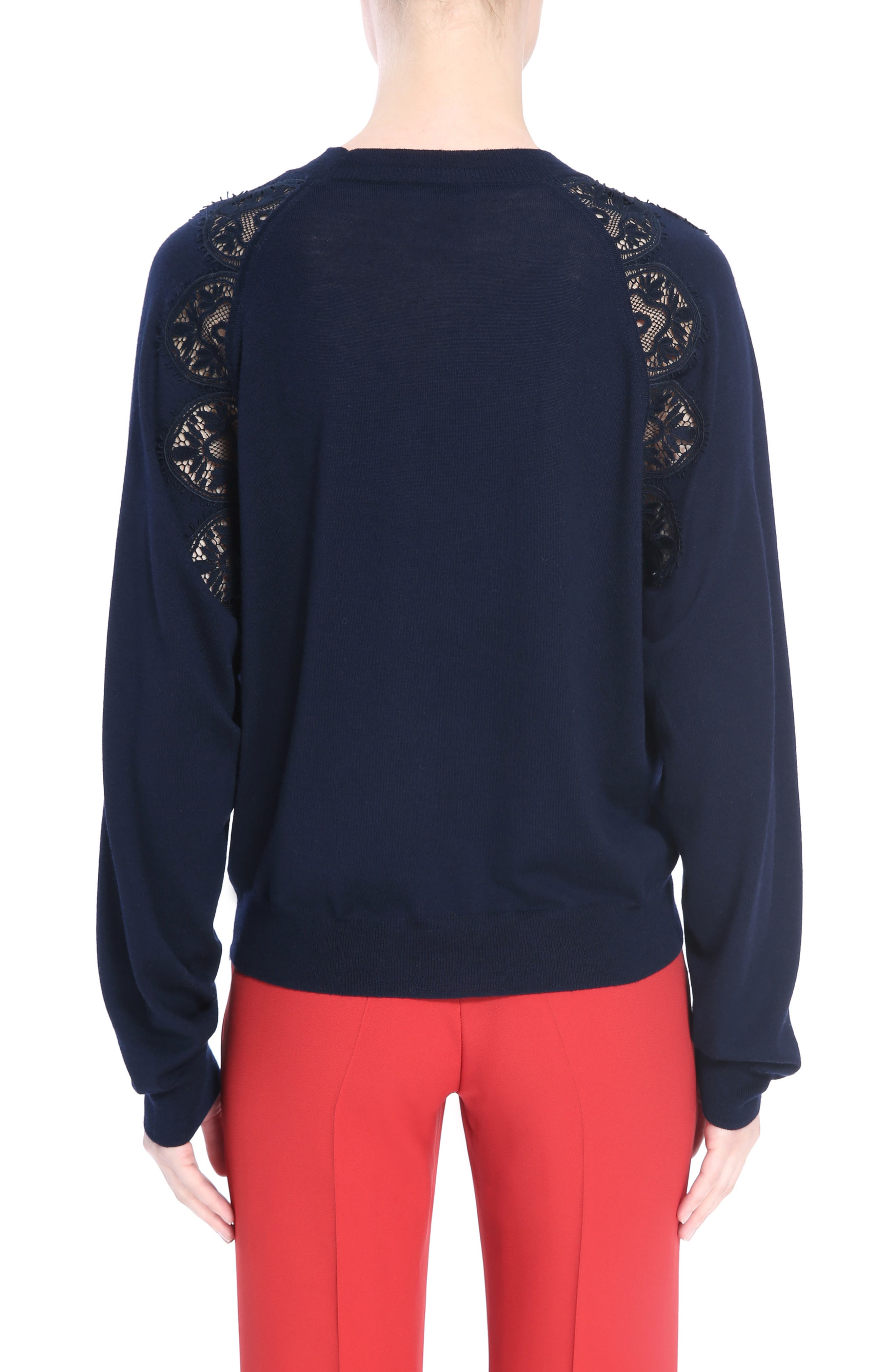 Lace Inset Sweater,                             Alternate thumbnail 2, color,                             Iconic Navy