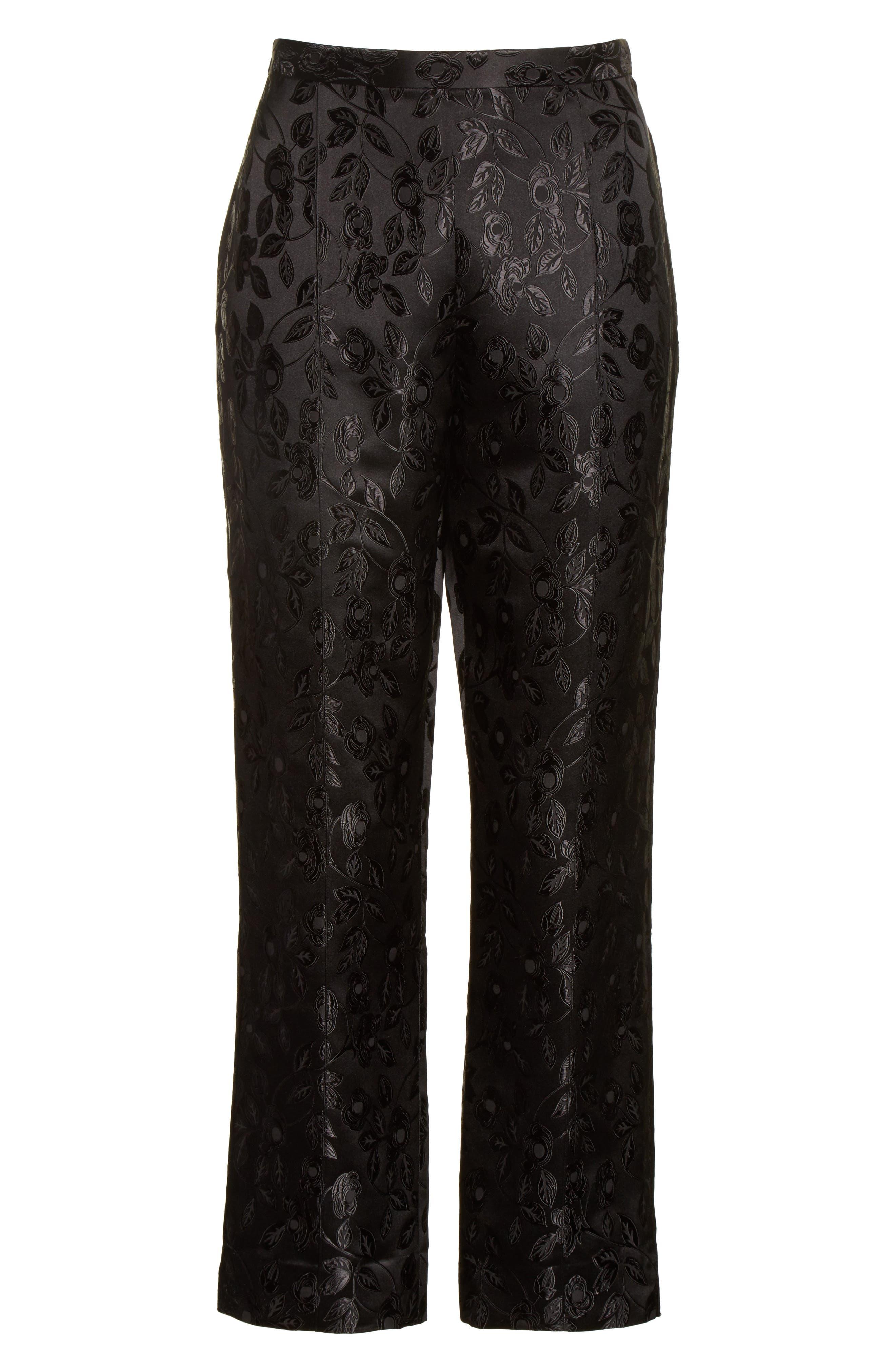 Jacquard Crop Pants,                             Alternate thumbnail 7, color,                             Black