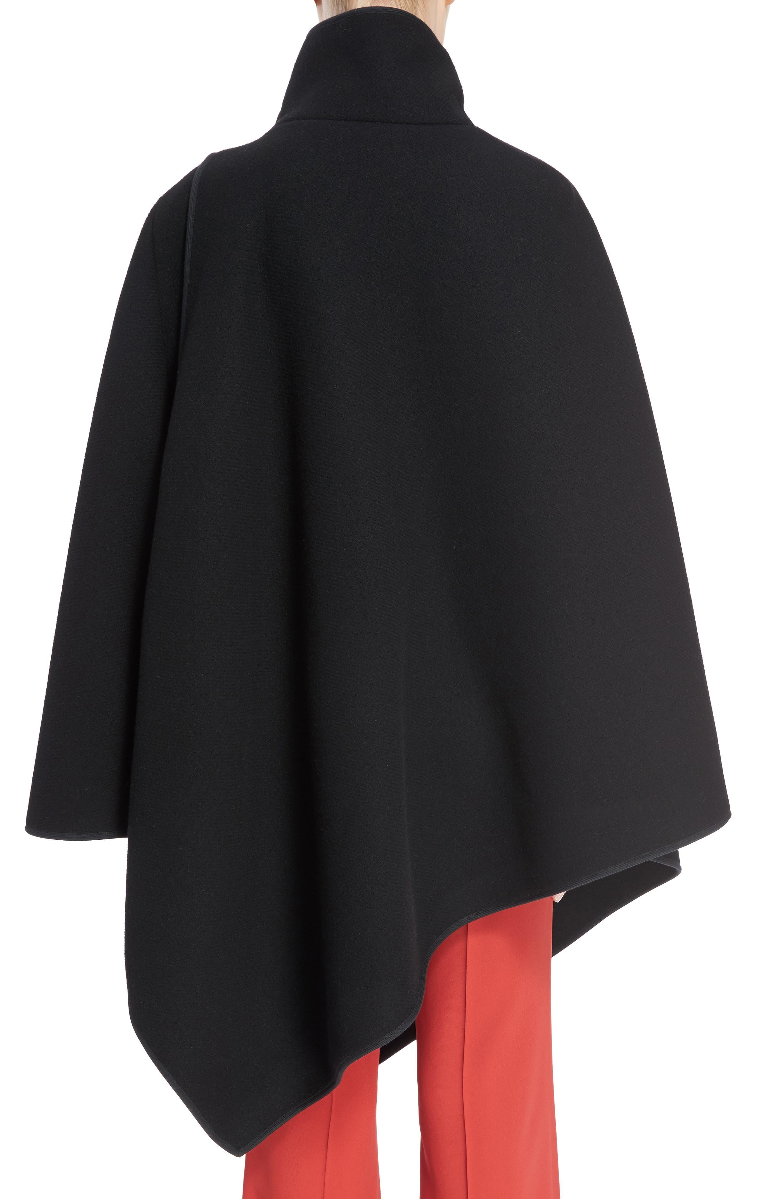Virgin Wool Blend Poncho,                             Alternate thumbnail 2, color,                             Black