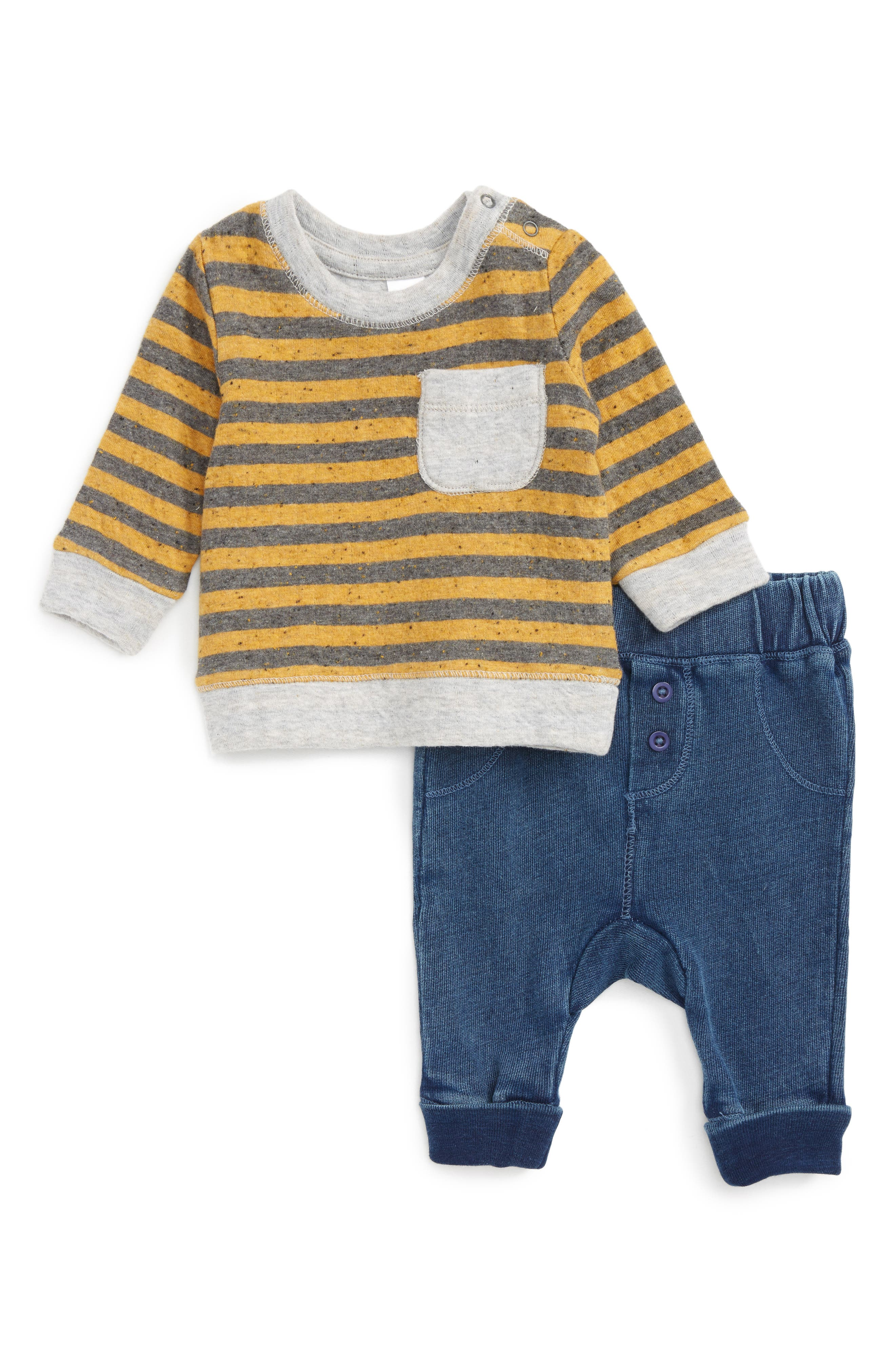 Alternate Image 1 Selected - Nordstrom Baby Stripe T-Shirt & Pants Set (Baby Boys)