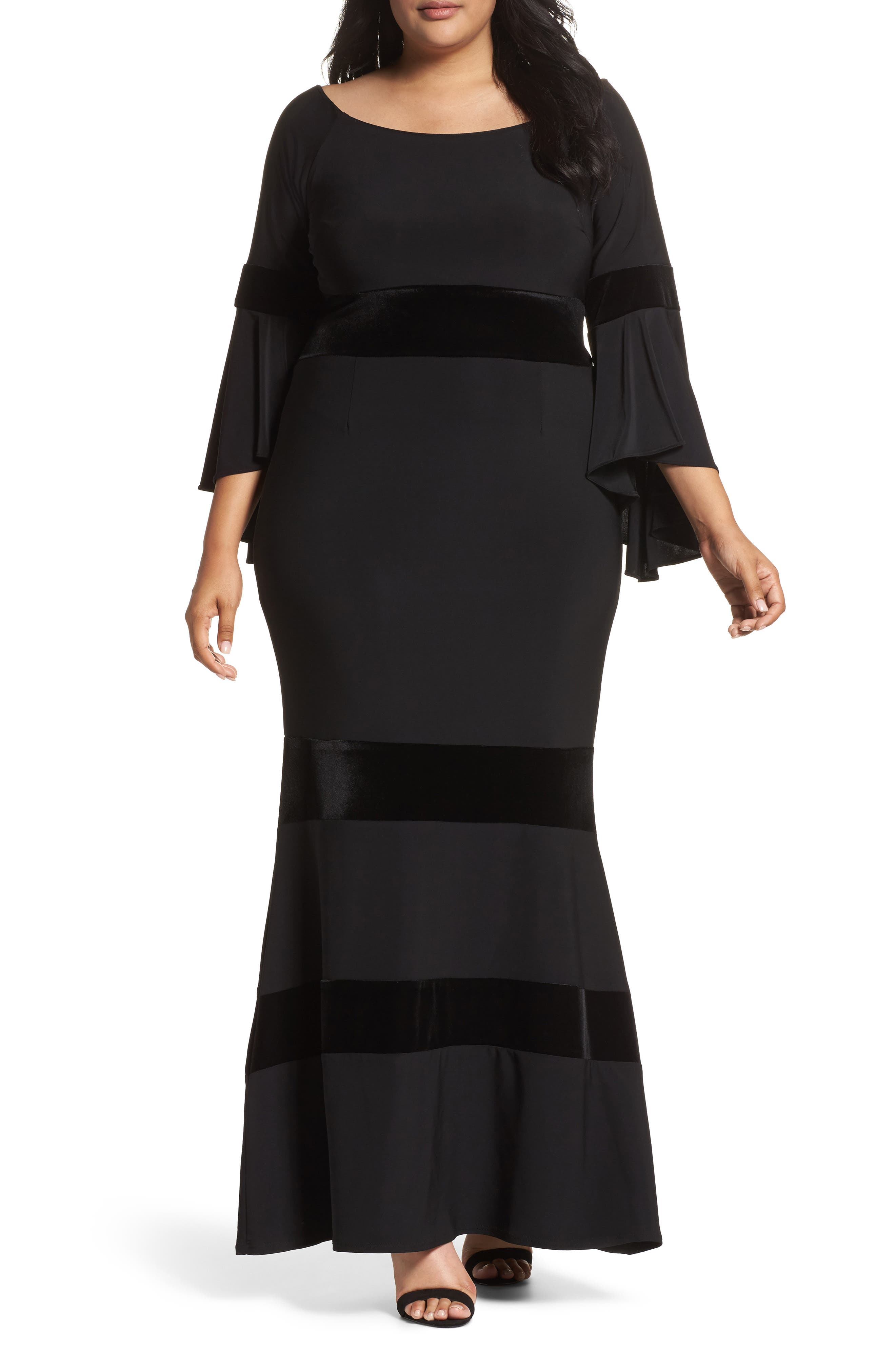 Alternate Image 1 Selected - Xscape Velvet Trim Maxi Dress (Plus Size)