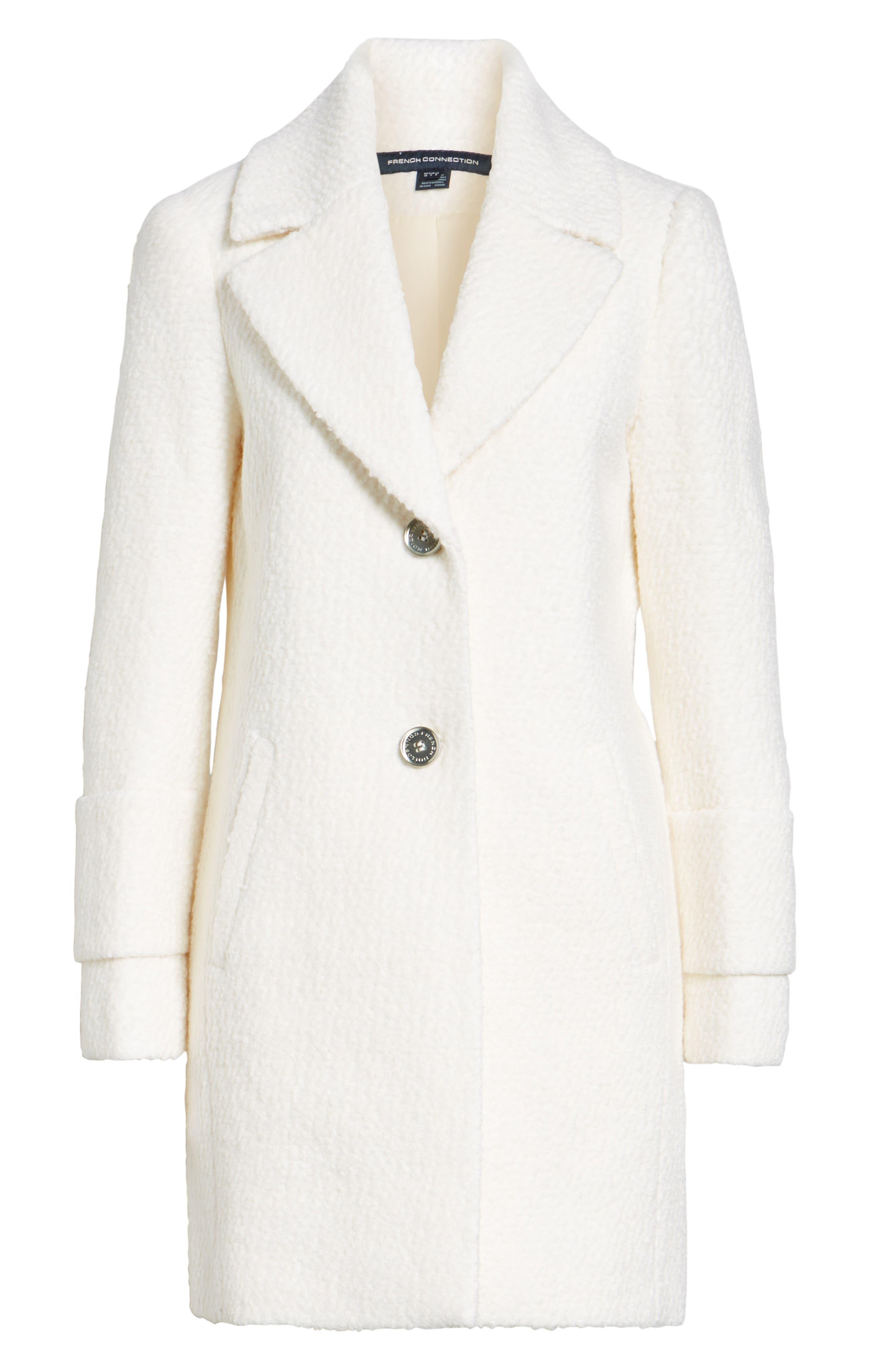 Notch Collar Bouclé Car Coat,                             Alternate thumbnail 6, color,                             Winter White