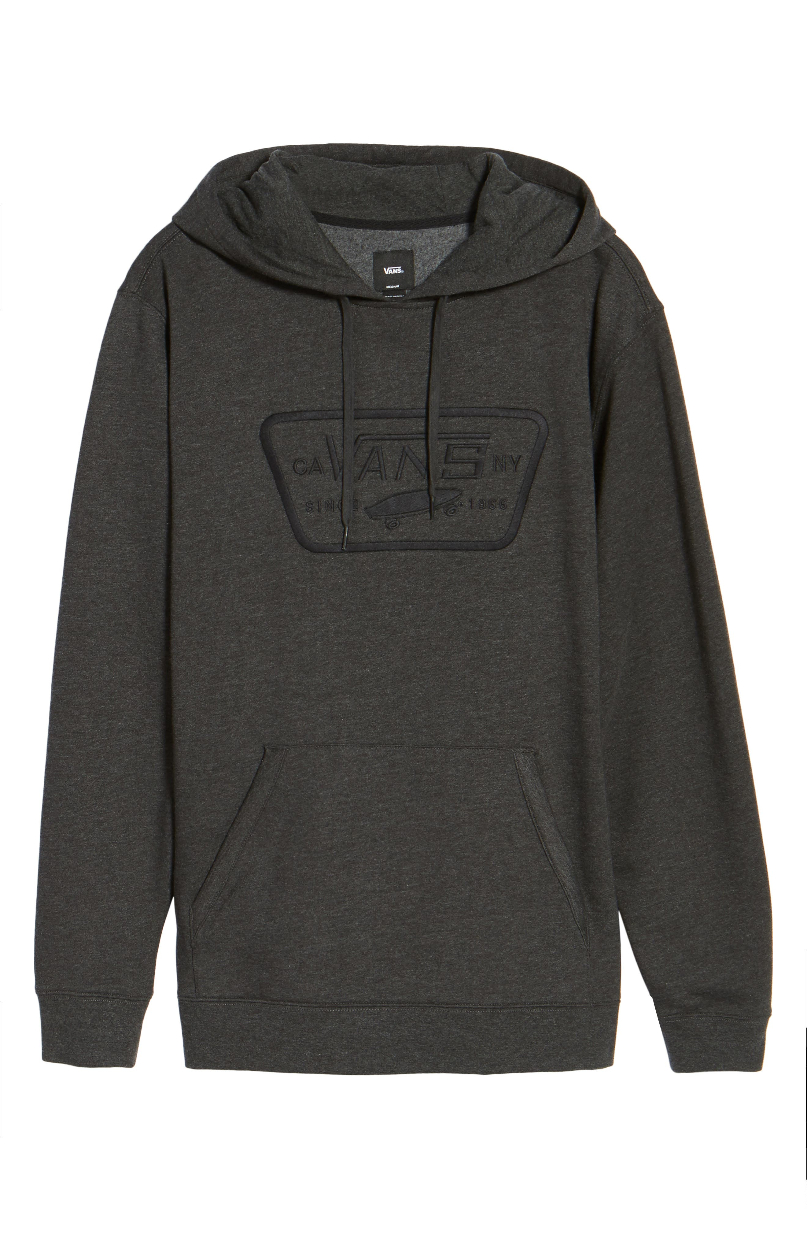 Full Patch Stitch Hoodie,                             Alternate thumbnail 6, color,                             Black Heather
