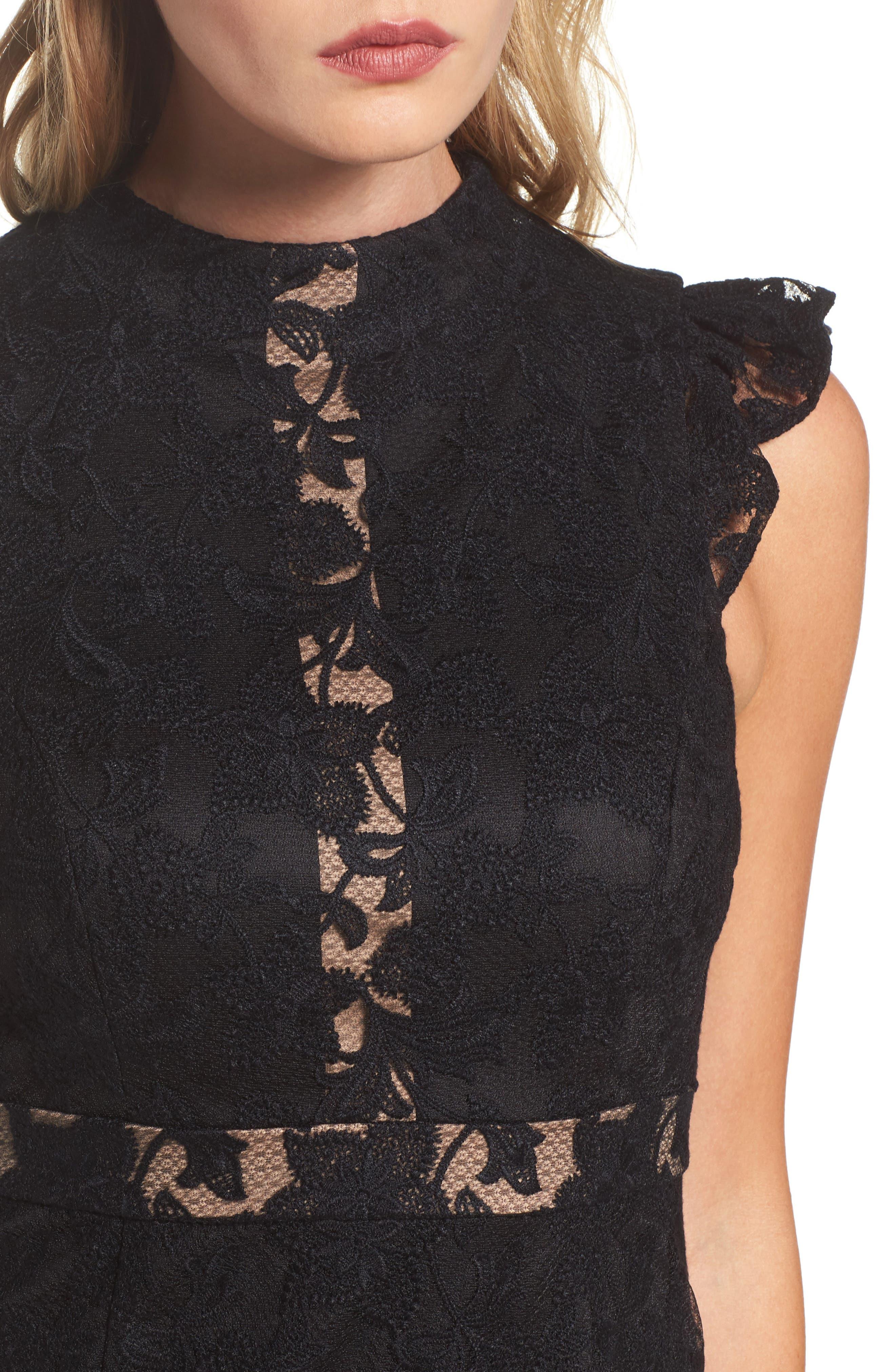 Salmone Lace Sheath Dress,                             Alternate thumbnail 4, color,                             Black/ Nude