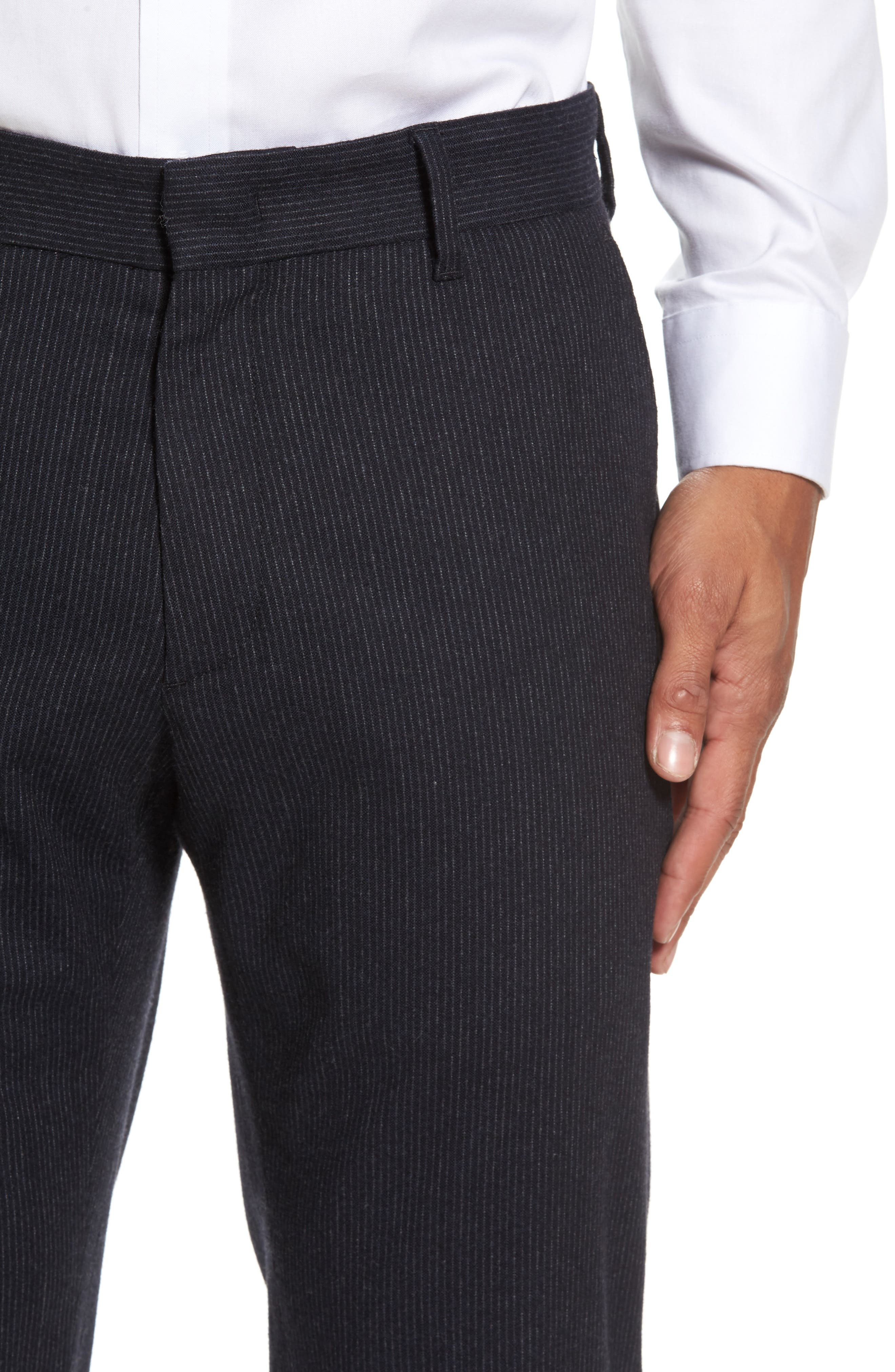 Rushmore Pinstripe Stretch Wool Blend Trousers,                             Alternate thumbnail 4, color,                             Navy