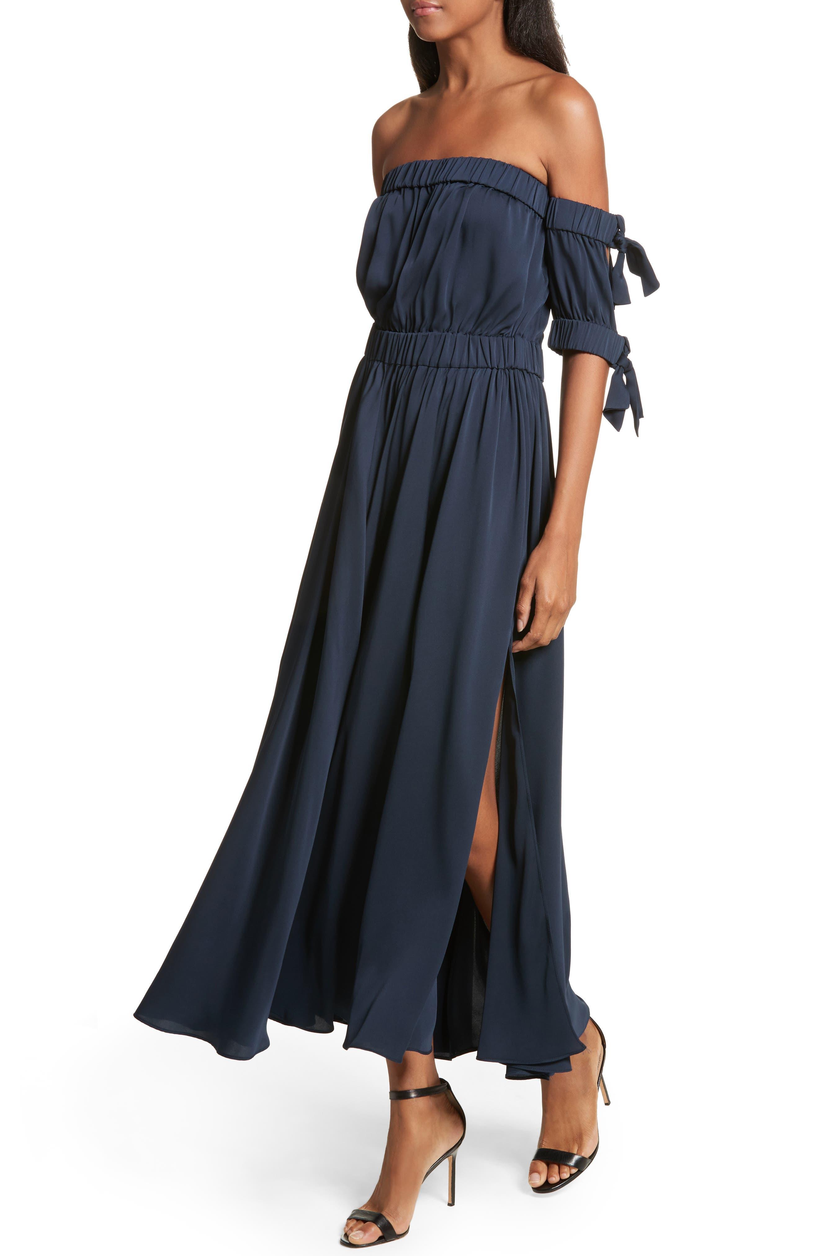 Zoey Stretch Silk Maxi Dress,                             Alternate thumbnail 4, color,                             Navy