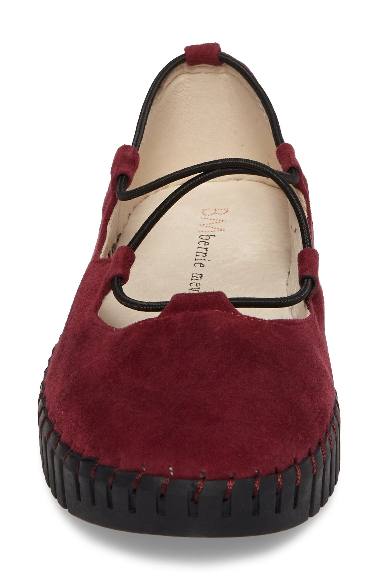 Bernie Mev TW71 Flat,                             Alternate thumbnail 4, color,                             Burgundy Nubuck Leather
