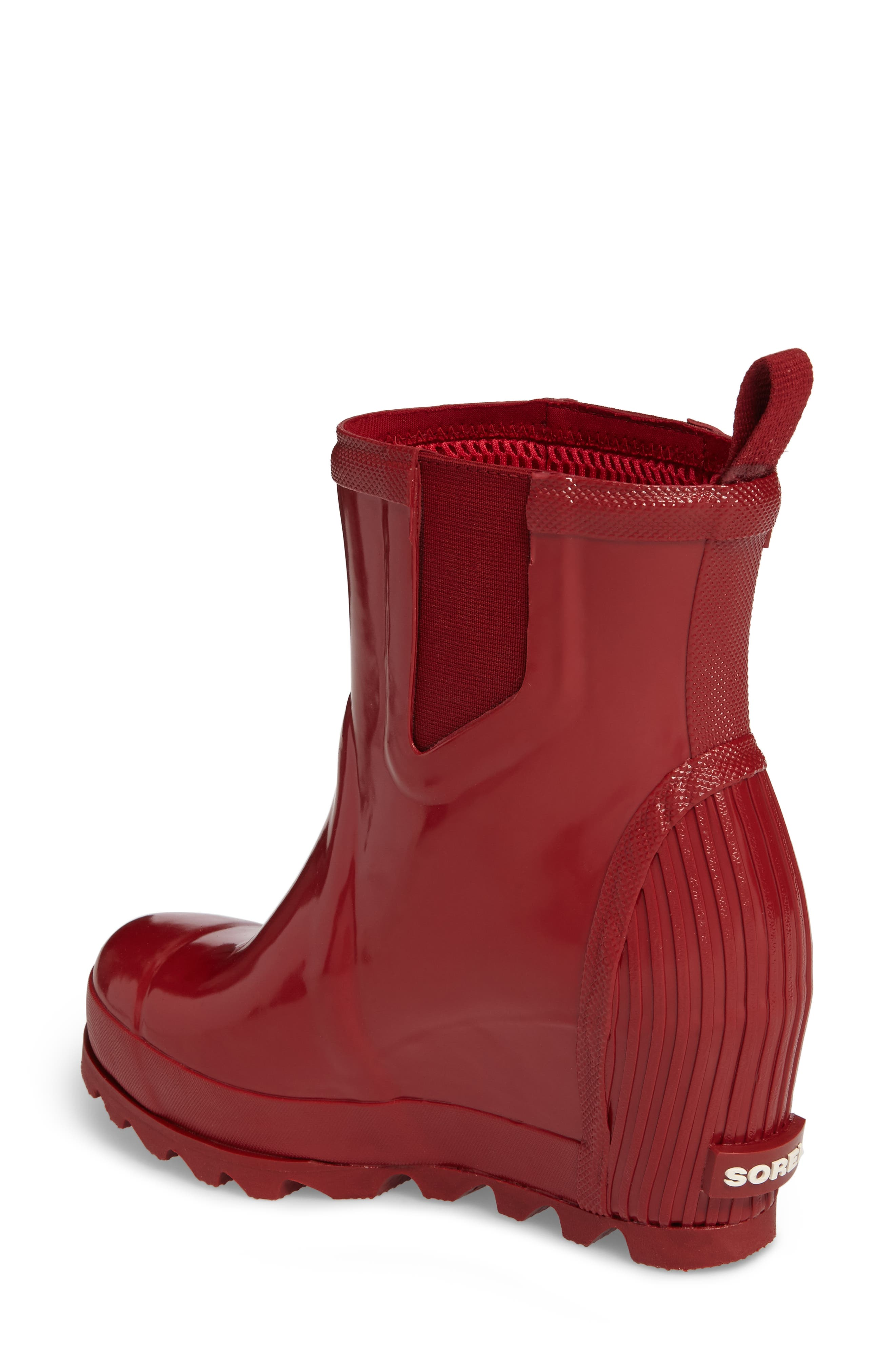 Joan Glossy Wedge Rain Boot,                             Alternate thumbnail 2, color,                             Red Dahlia/ Candy Apple
