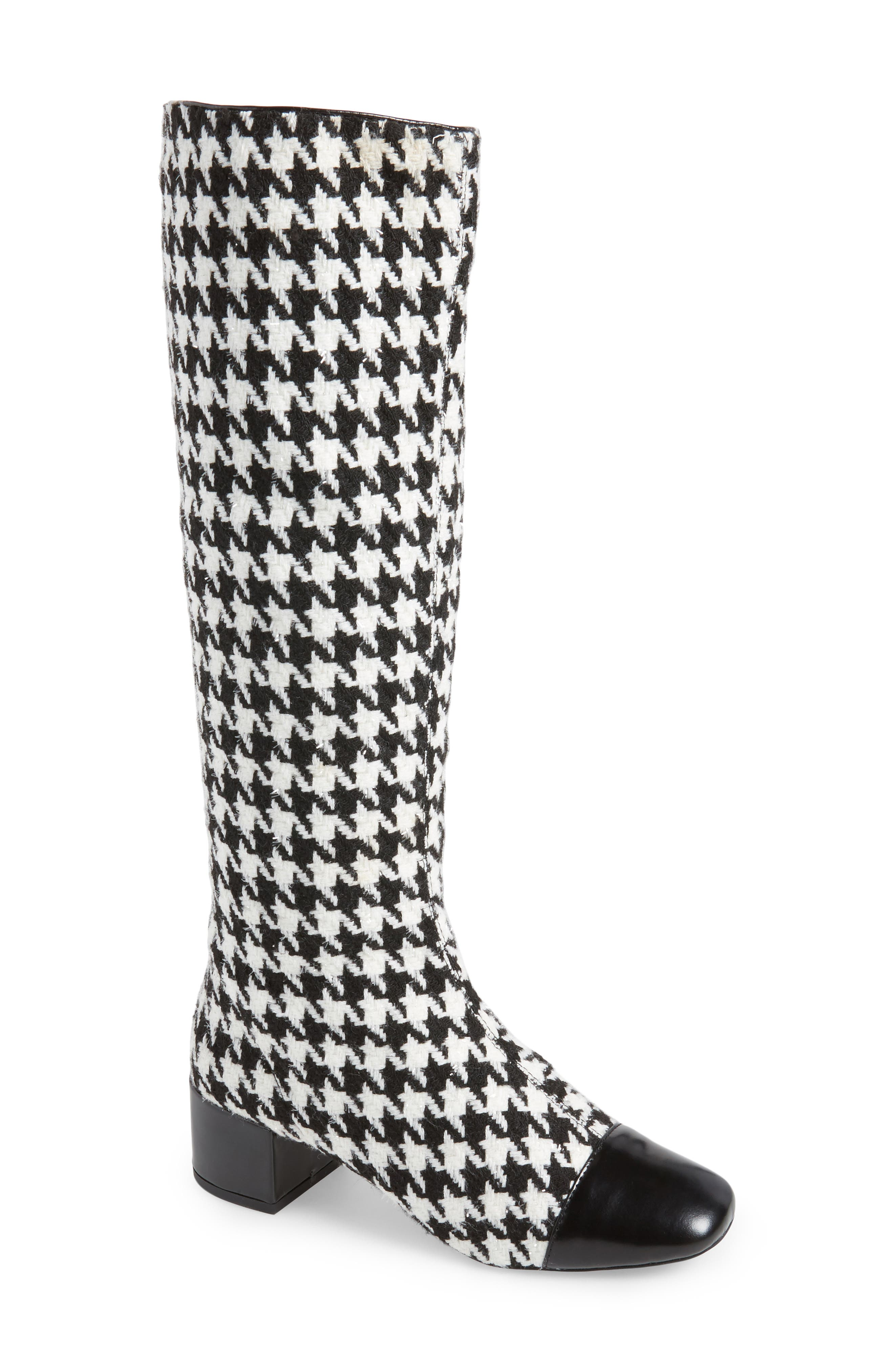 Covey Knee-High Boot,                         Main,                         color, Black White Houndstooth