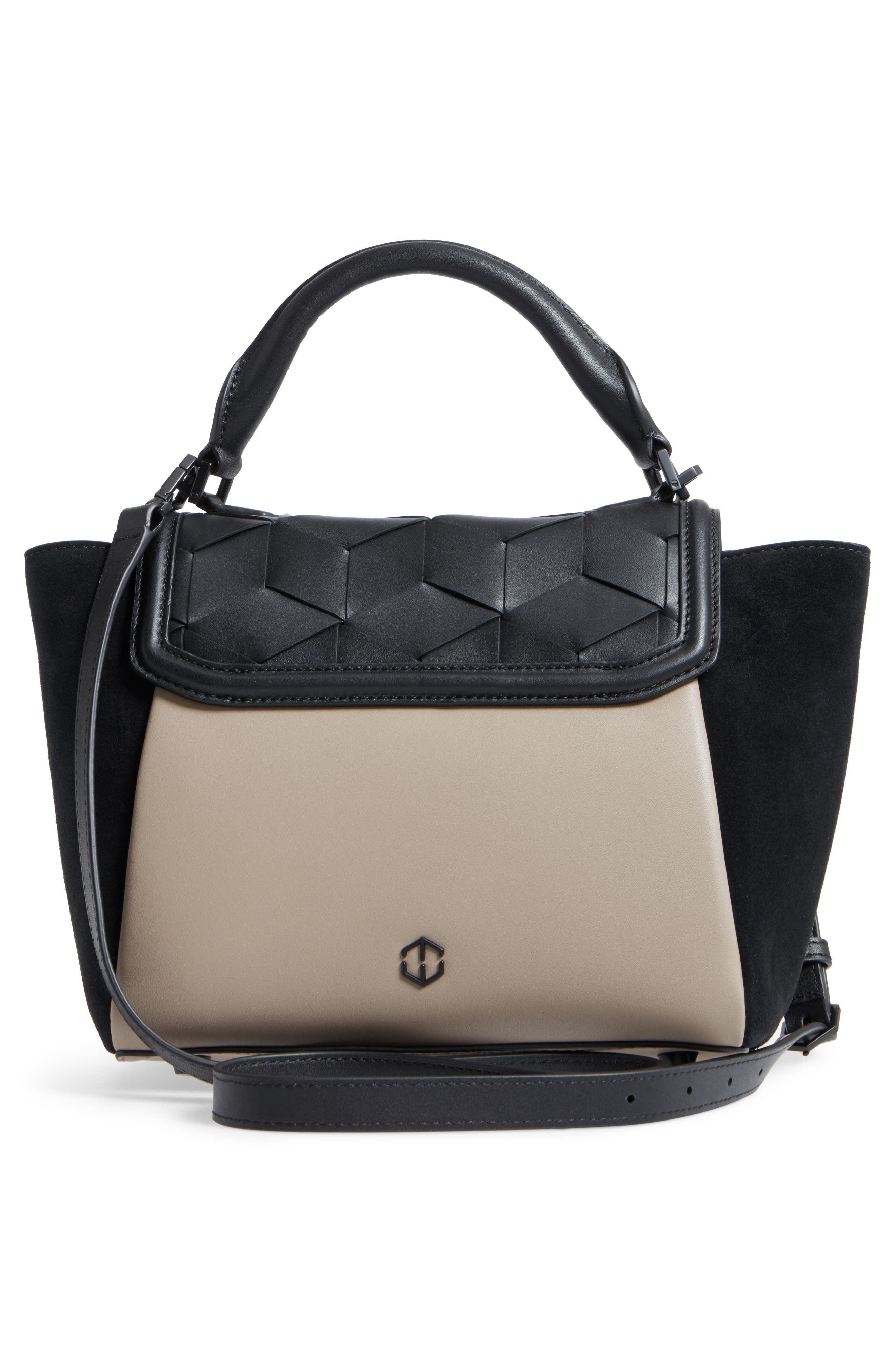 Small Saunter Colorblocked Leather & Suede Top Handle Satchel,                             Alternate thumbnail 2, color,                             Black/ Taupe