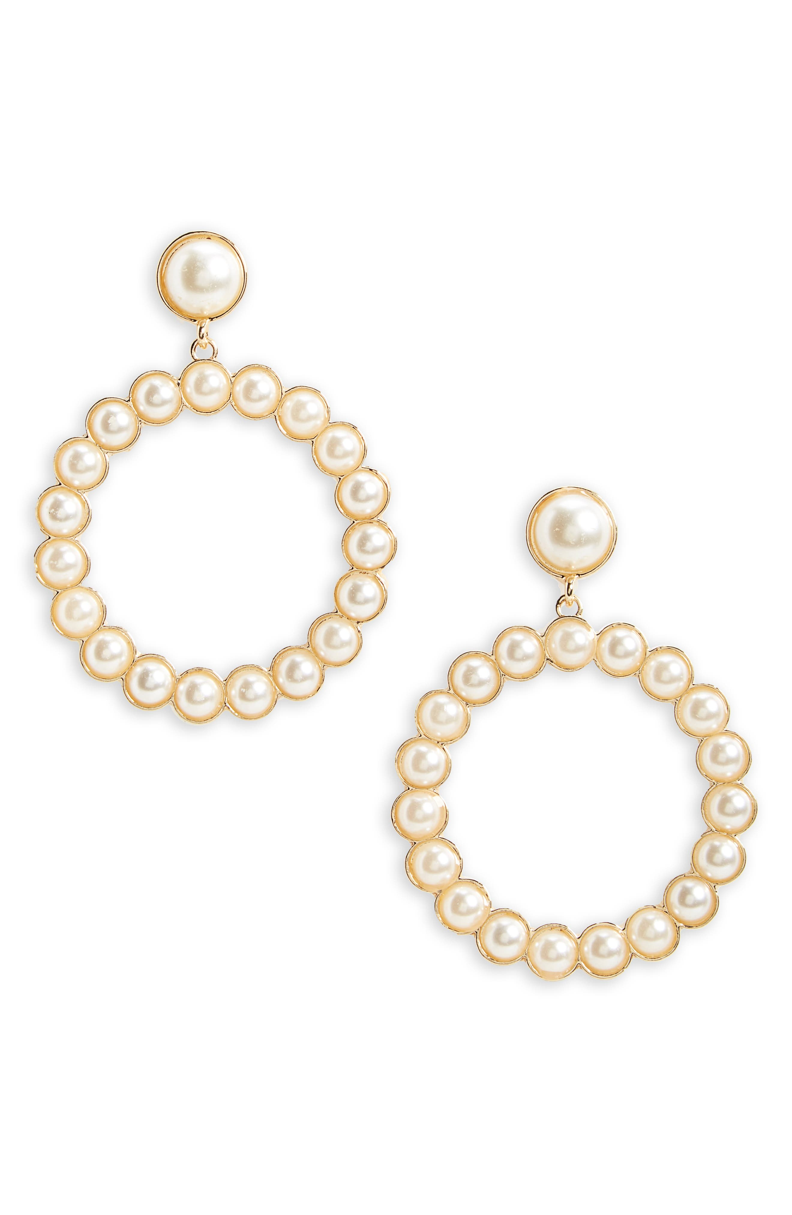 Imitation Pearl Drop Earrings,                         Main,                         color, Gold/ Pearl