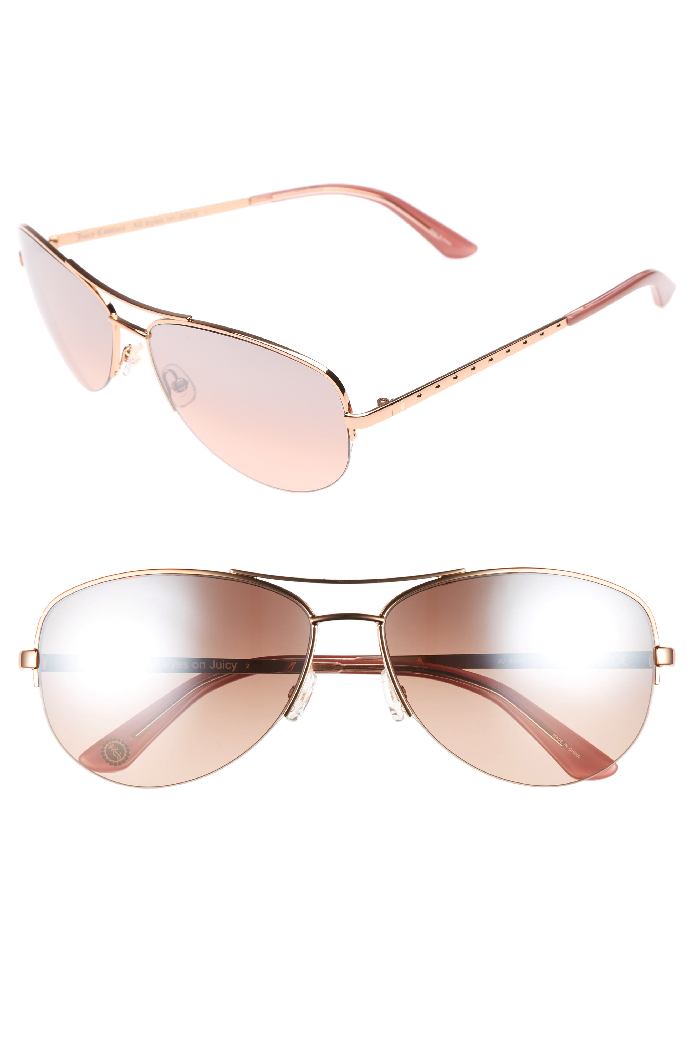 Shades of Couture by Juicy Couture 60mm Gradient Aviator Sunglasses