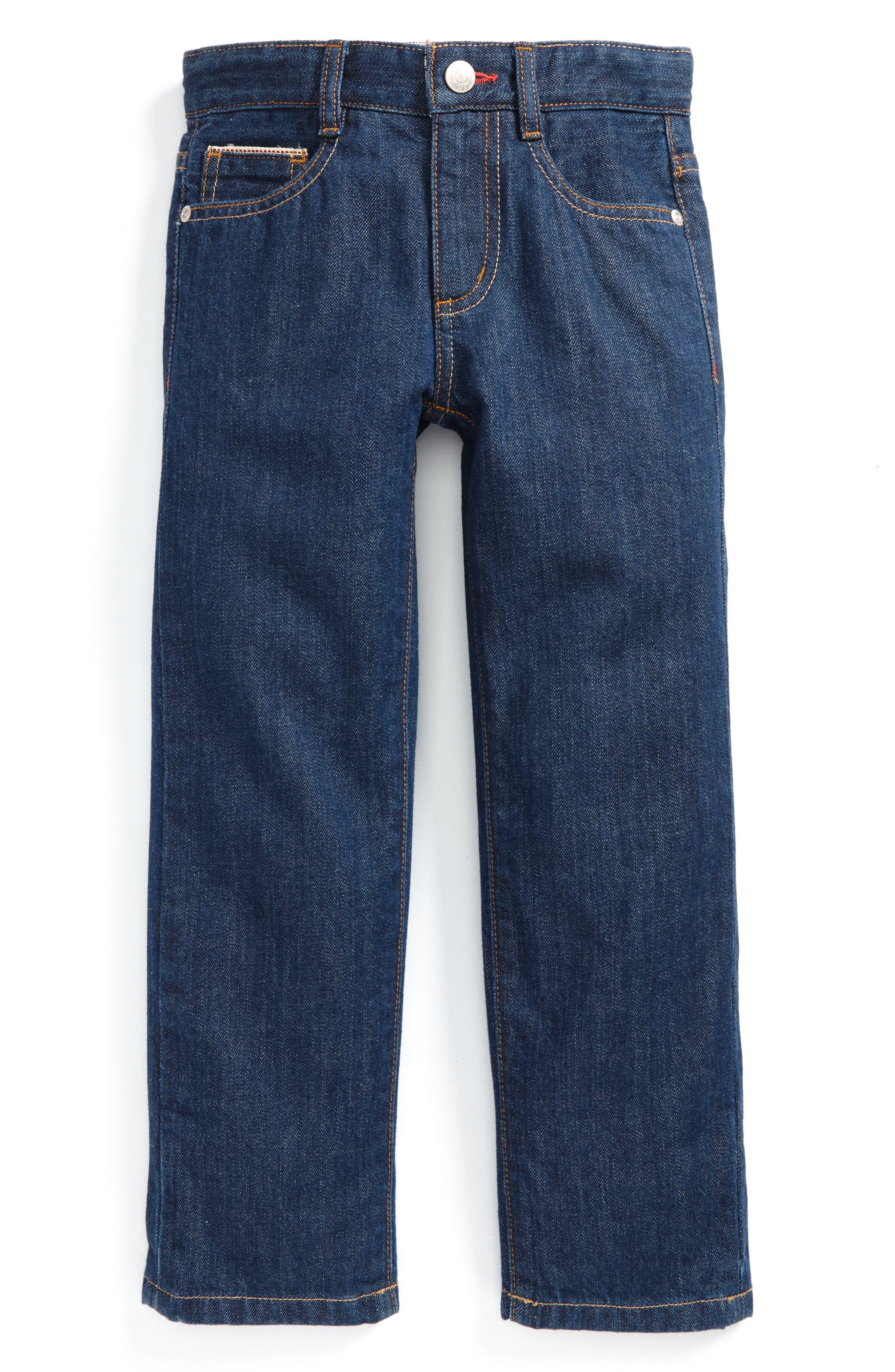 Alternate Image 1 Selected - Mini Boden Straight Leg Jeans (Toddler Boys, Little Boys & Big Boys)