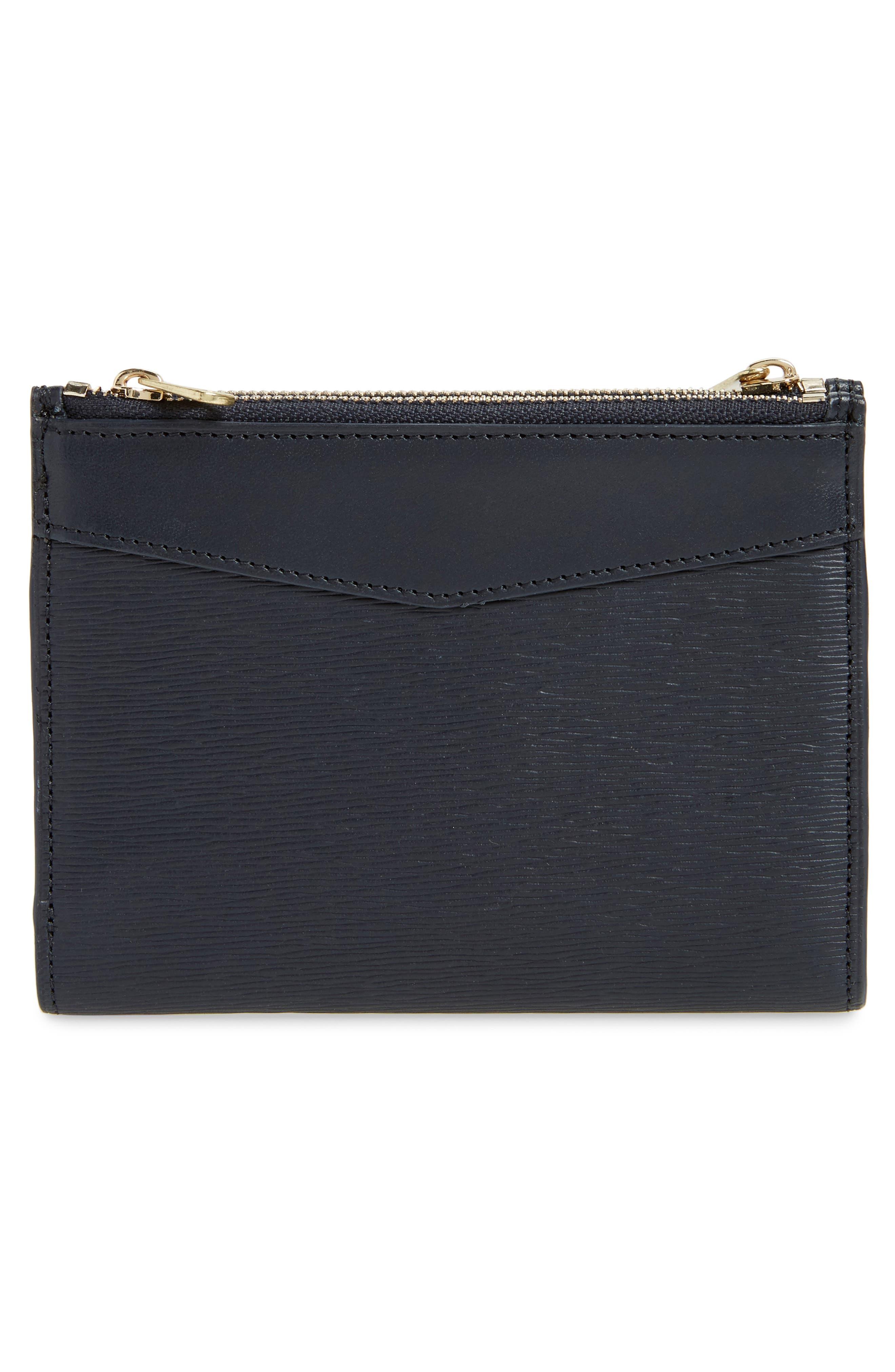 Claudine Calfskin Leather Wallet,                             Alternate thumbnail 3, color,                             Dark Navy