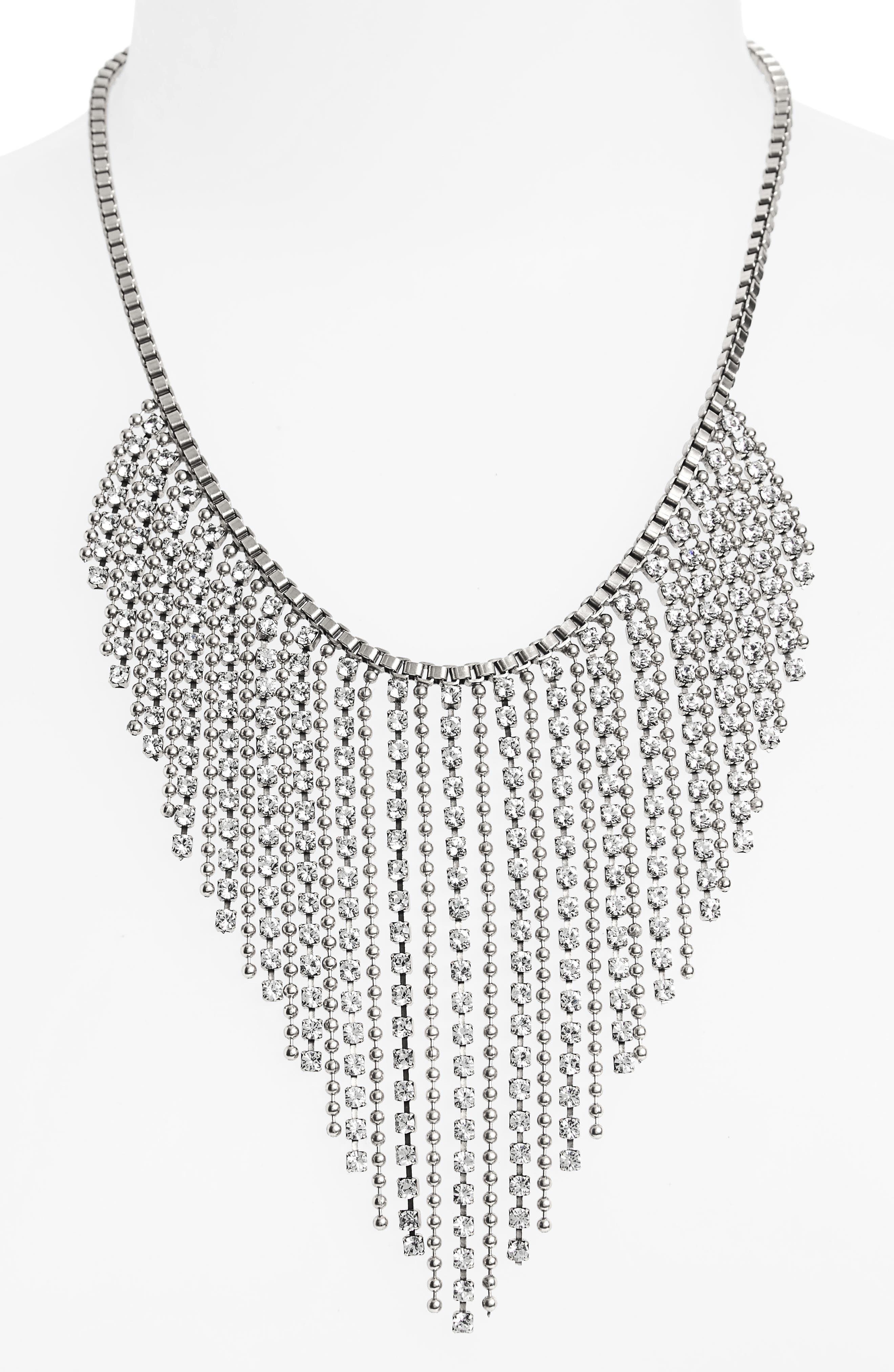 Joanna Frontal Necklace,                             Alternate thumbnail 2, color,                             Silver/ Crystal