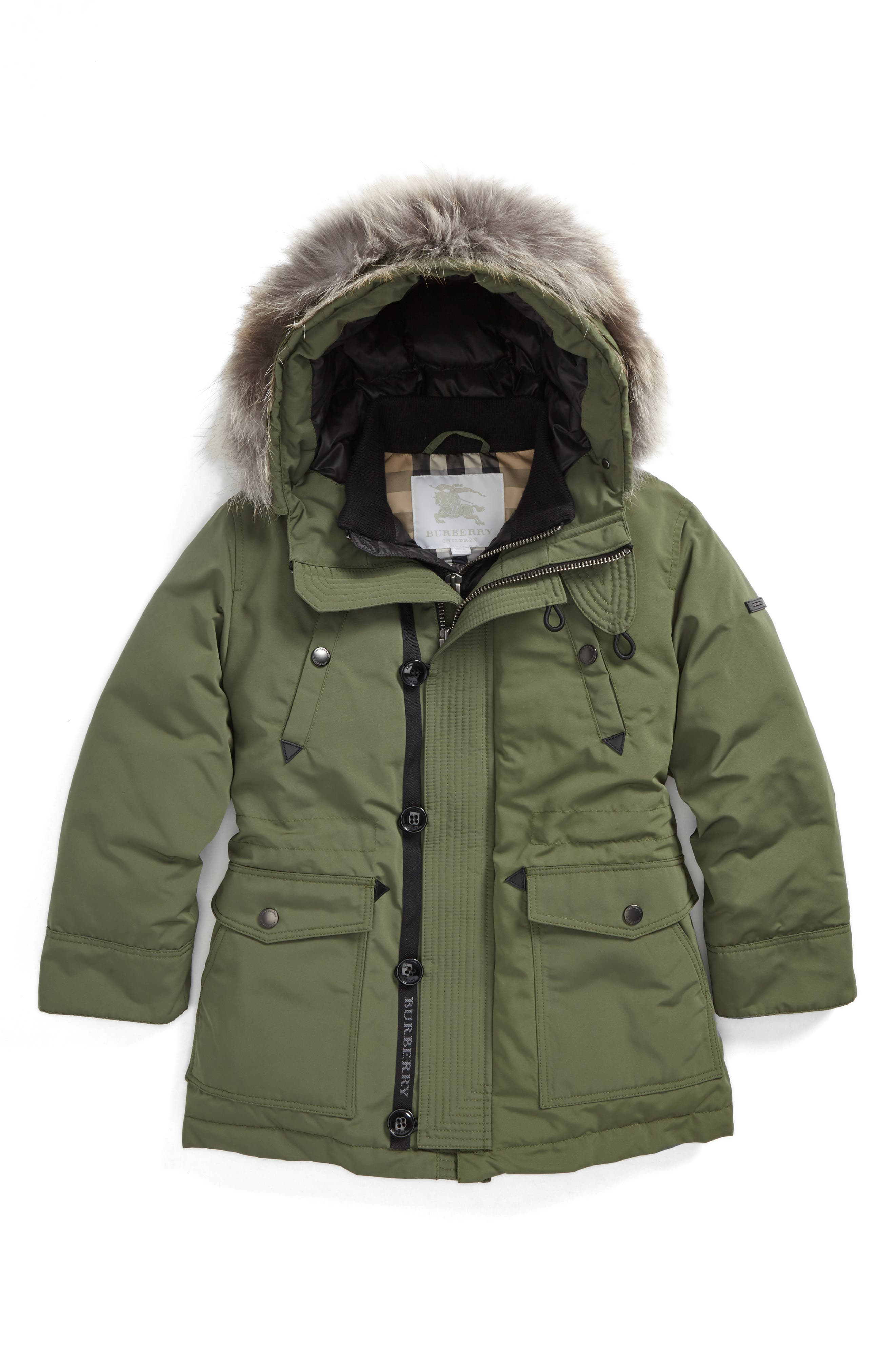 Elliott Genuine Fox Fur Down Jacket,                             Main thumbnail 1, color,                             Sage